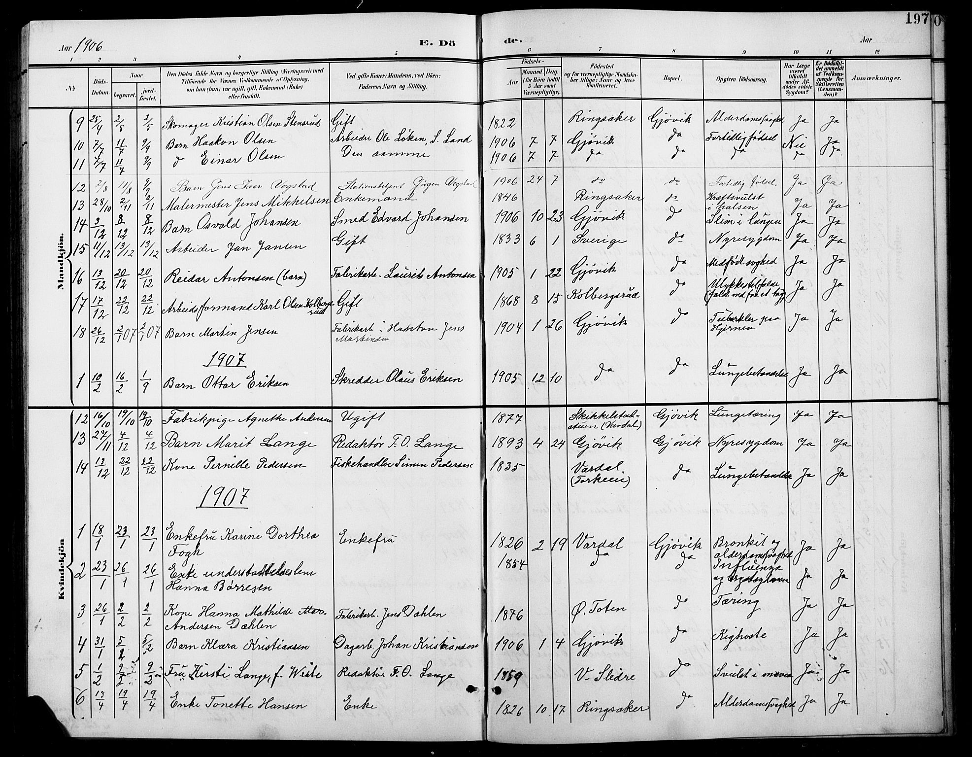 SAH, Vardal prestekontor, H/Ha/Hab/L0012: Klokkerbok nr. 12, 1902-1911, s. 197