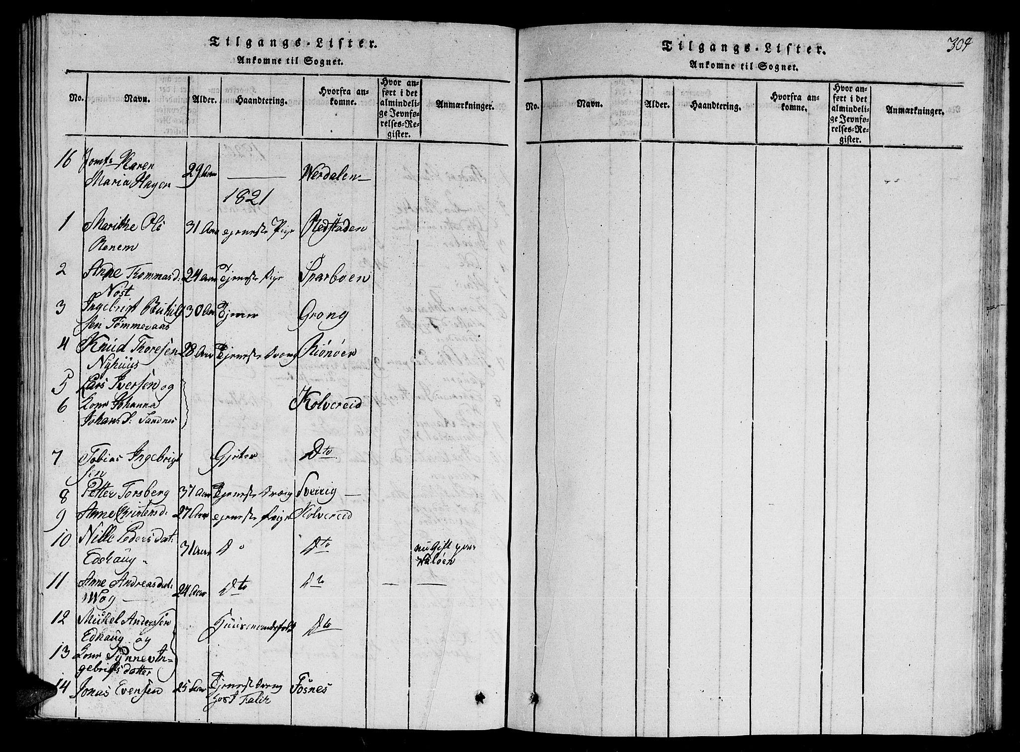 SAT, Ministerialprotokoller, klokkerbøker og fødselsregistre - Nord-Trøndelag, 784/L0679: Klokkerbok nr. 784C01 /1, 1816-1822, s. 304