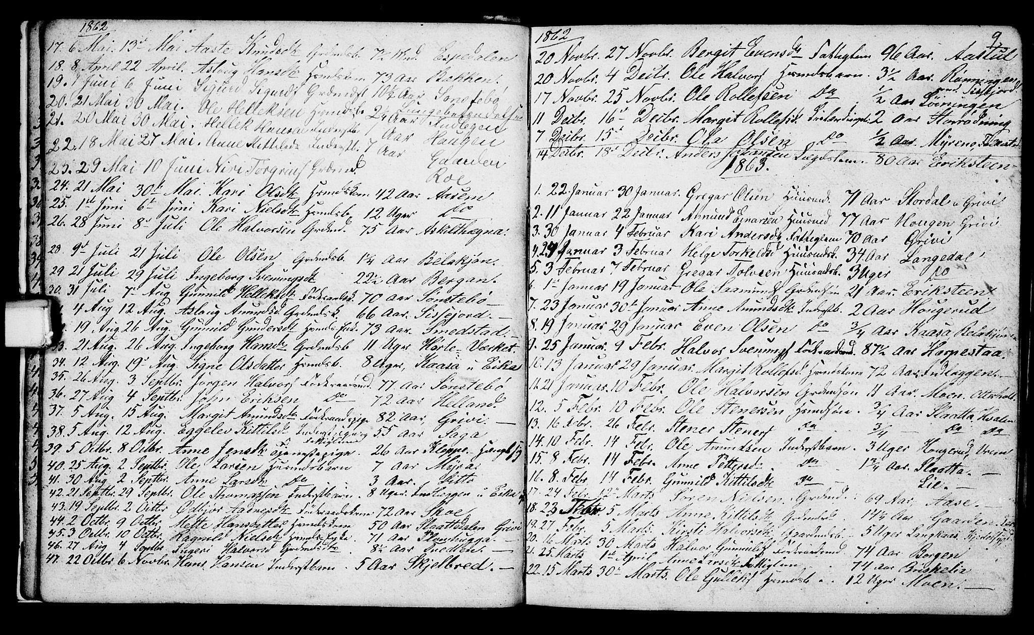 SAKO, Bø kirkebøker, G/Ga/L0002: Klokkerbok nr. 2, 1853-1866, s. 9