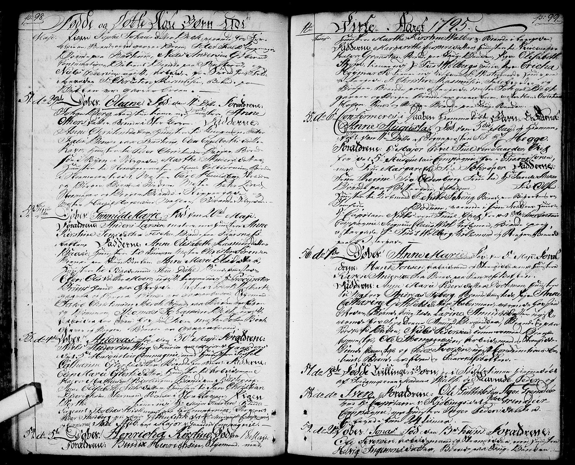 SAO, Halden prestekontor Kirkebøker, F/Fa/L0002: Ministerialbok nr. I 2, 1792-1812, s. 98-99