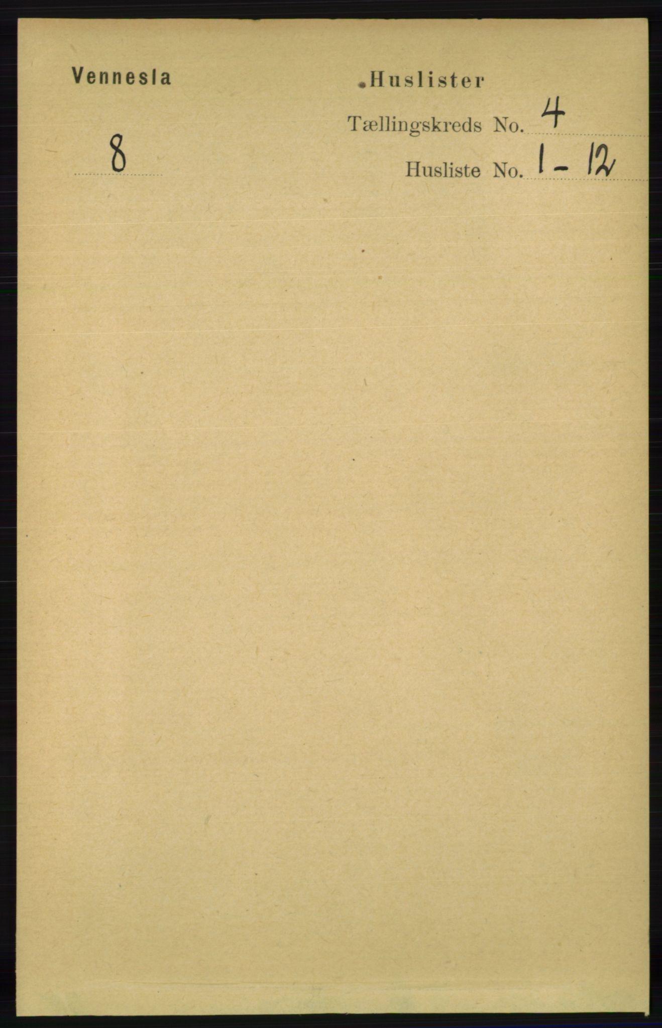 RA, Folketelling 1891 for 1014 Vennesla herred, 1891, s. 835