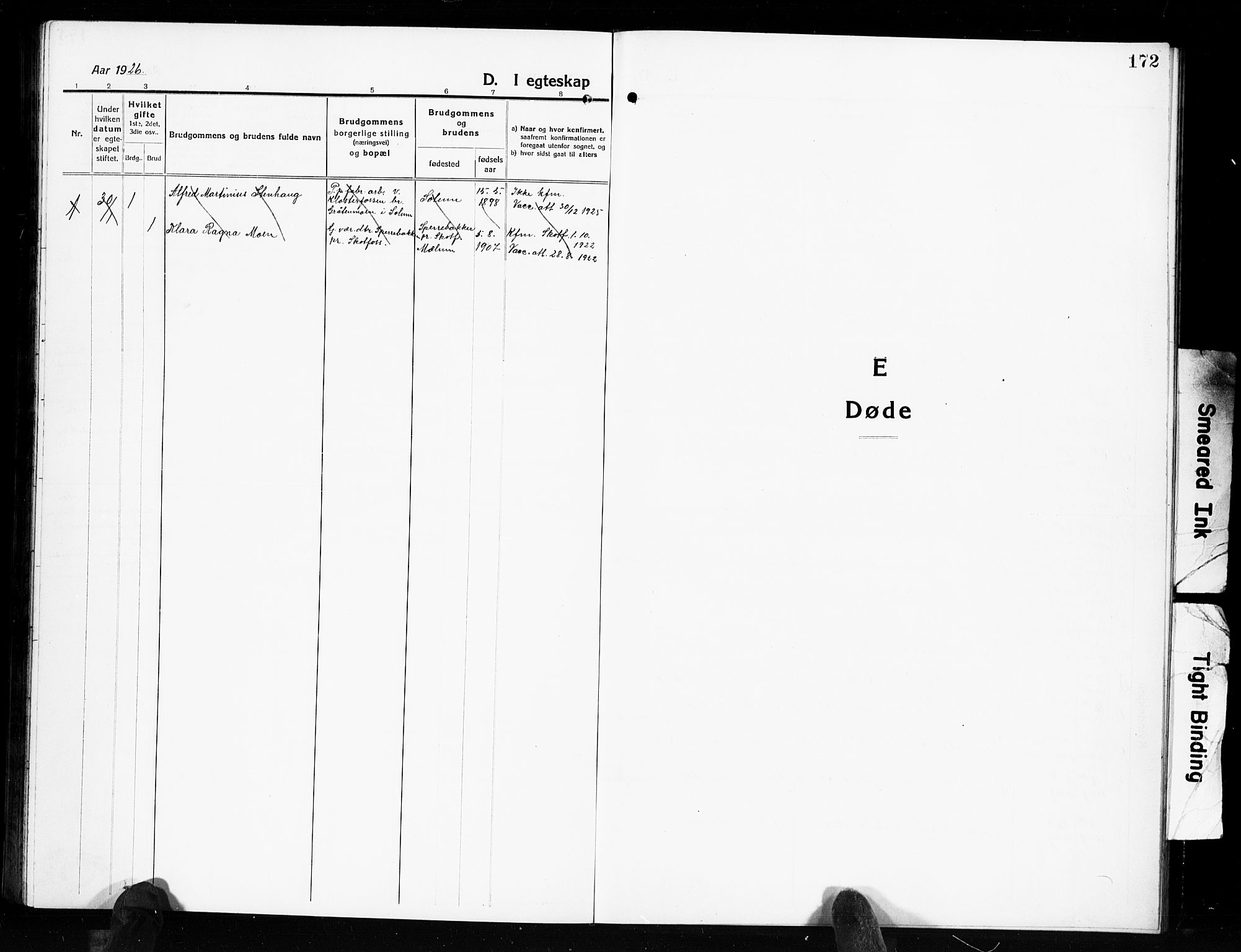 SAKO, Solum kirkebøker, G/Gb/L0006: Klokkerbok nr. II 6, 1915-1927, s. 172