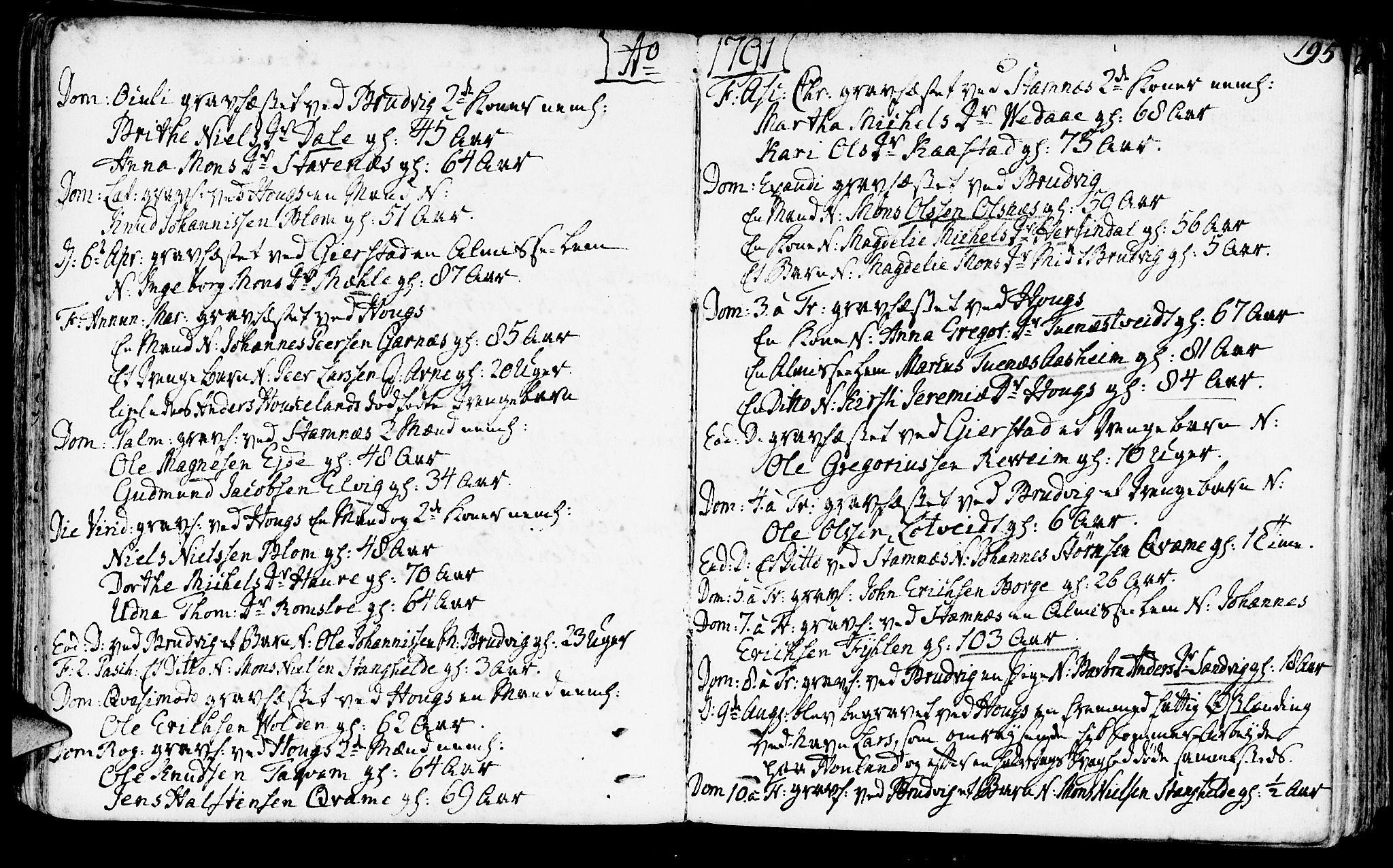 SAB, Haus Sokneprestembete, H/Haa: Ministerialbok nr. A 10, 1782-1796, s. 195