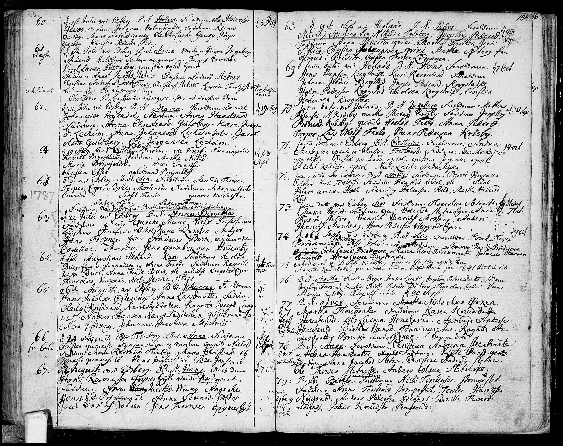 SAO, Eidsberg prestekontor Kirkebøker, F/Fa/L0004: Ministerialbok nr. I 4, 1759-1788, s. 154