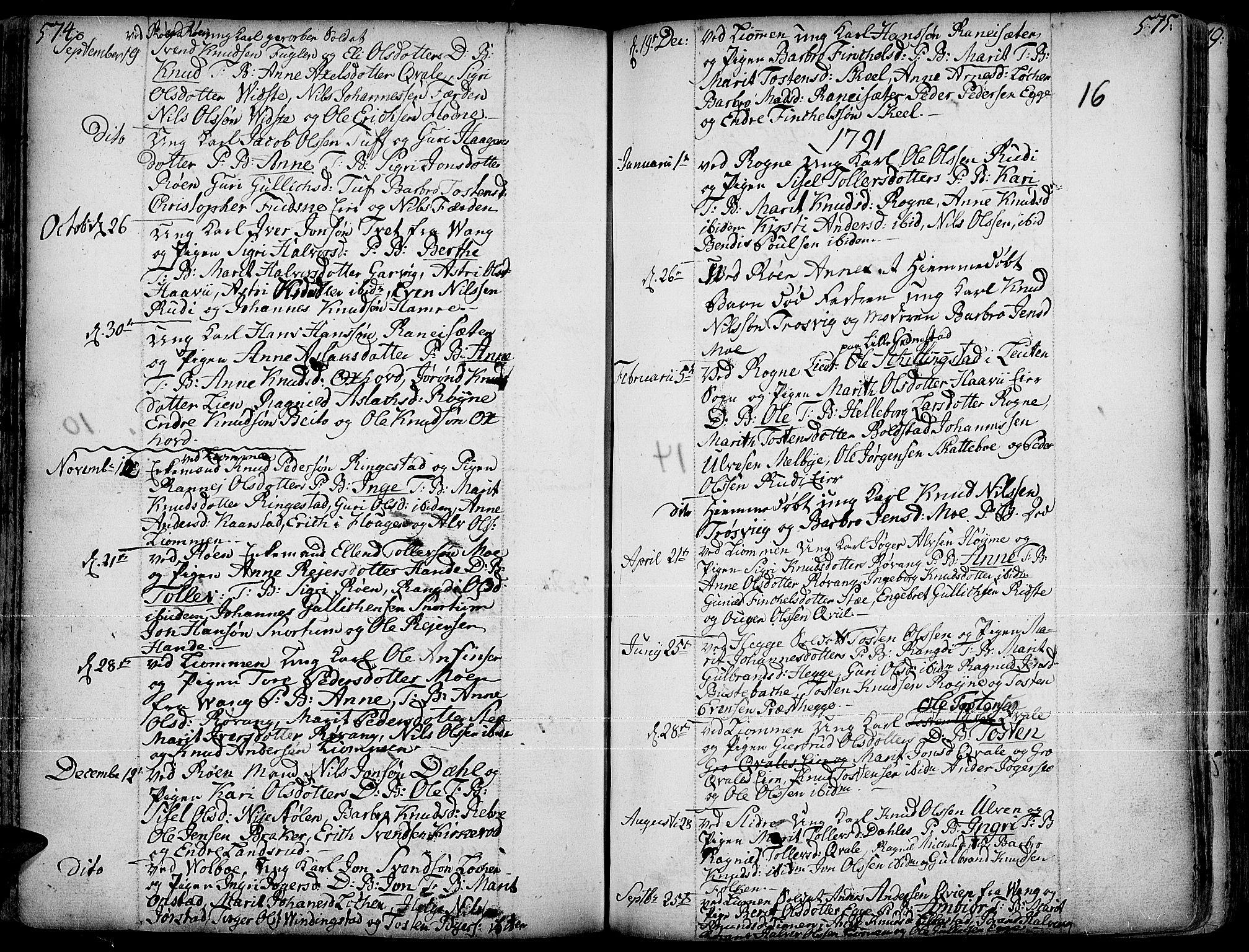 SAH, Slidre prestekontor, Ministerialbok nr. 1, 1724-1814, s. 574-575