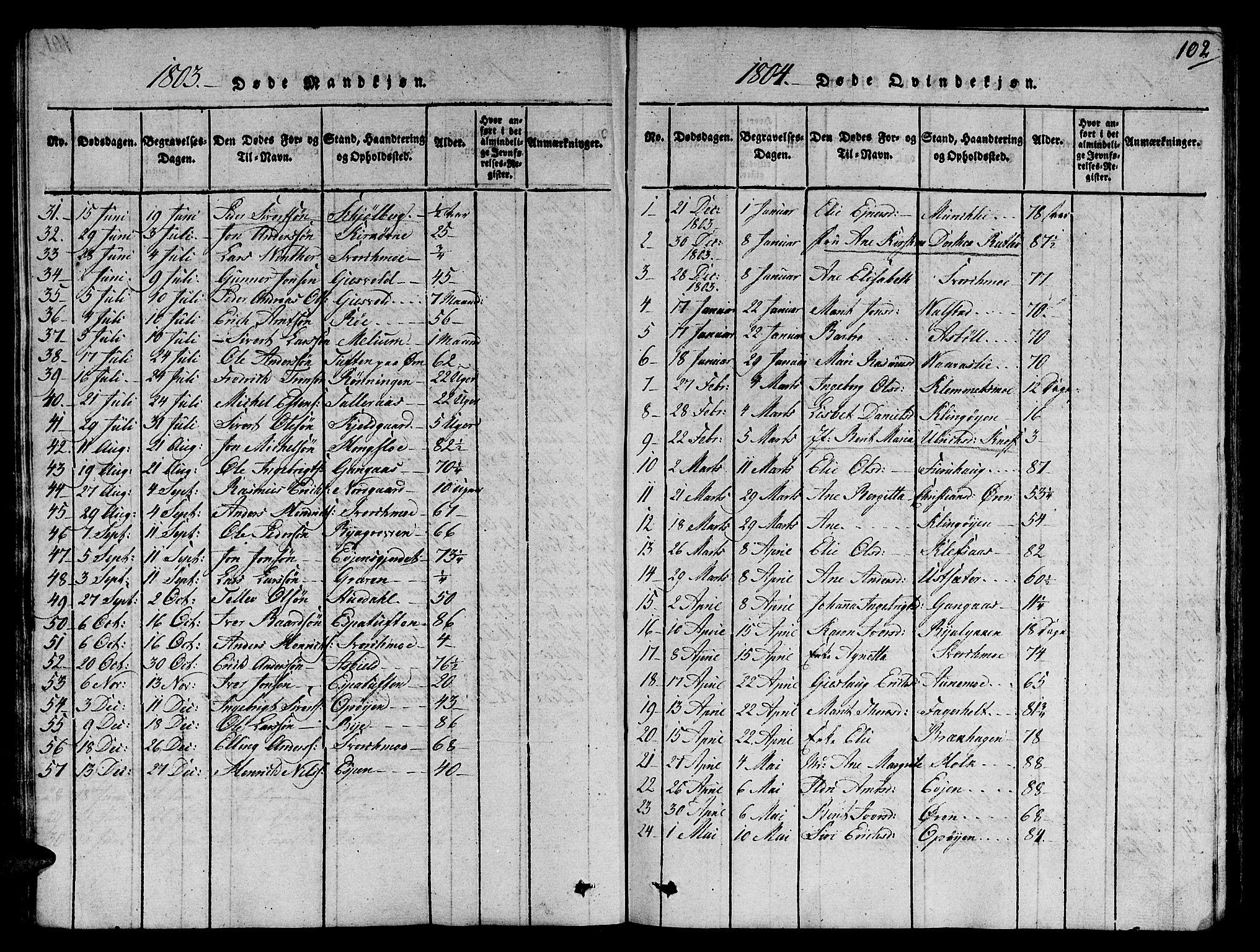 SAT, Ministerialprotokoller, klokkerbøker og fødselsregistre - Sør-Trøndelag, 668/L0803: Ministerialbok nr. 668A03, 1800-1826, s. 102