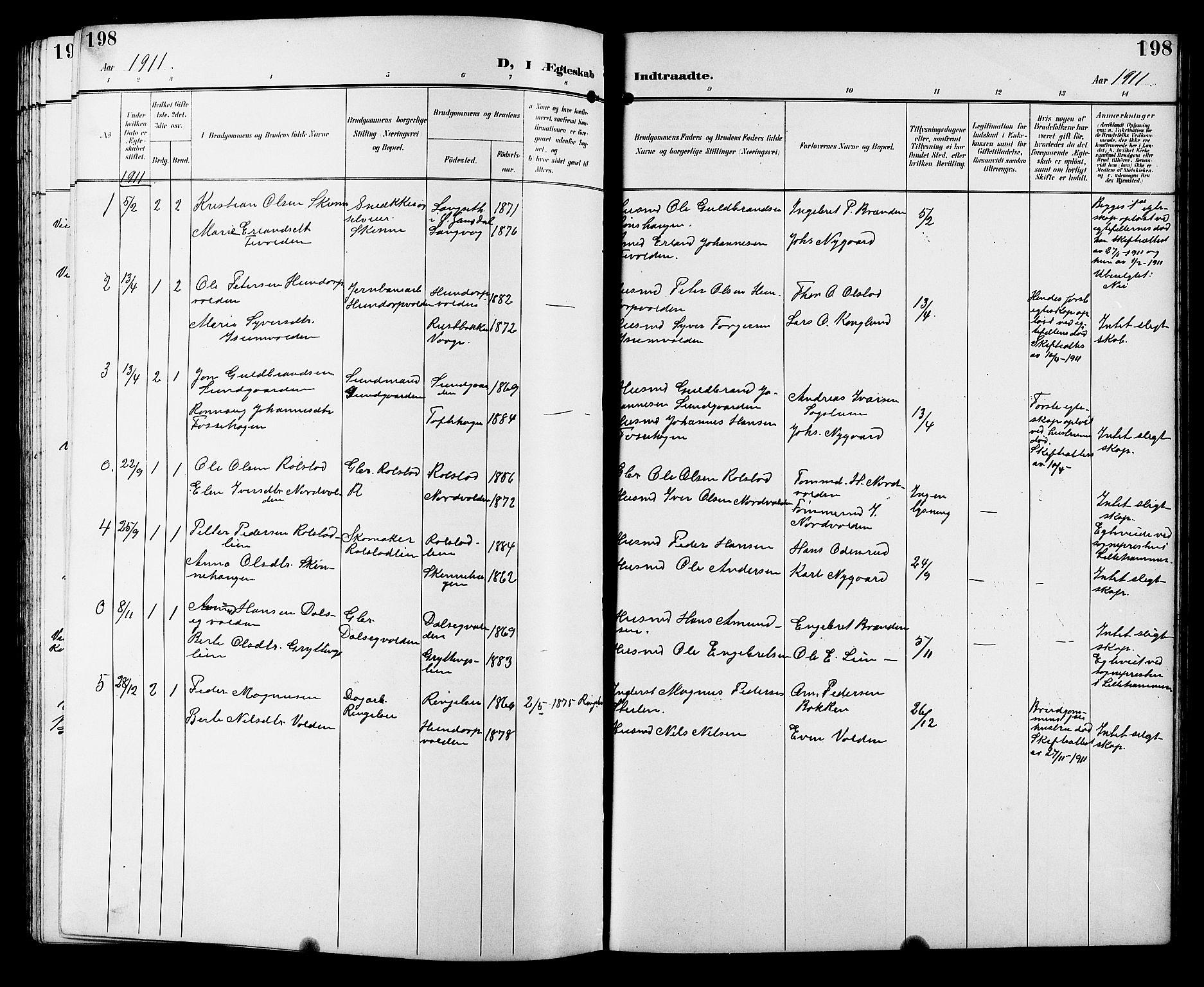 SAH, Sør-Fron prestekontor, H/Ha/Hab/L0004: Klokkerbok nr. 4, 1896-1911, s. 198