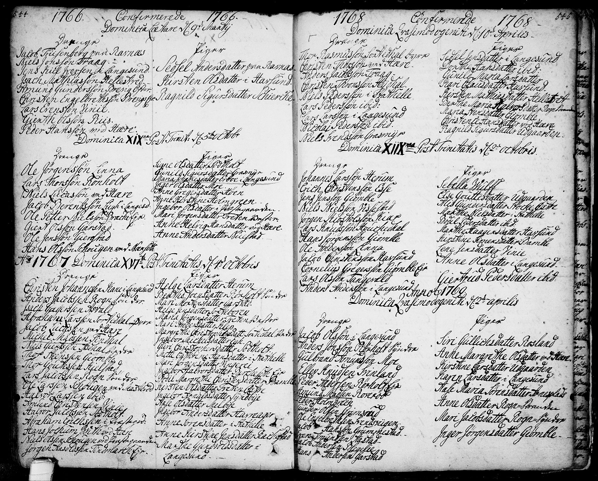 SAKO, Bamble kirkebøker, F/Fa/L0001: Ministerialbok nr. I 1, 1702-1774, s. 544-545