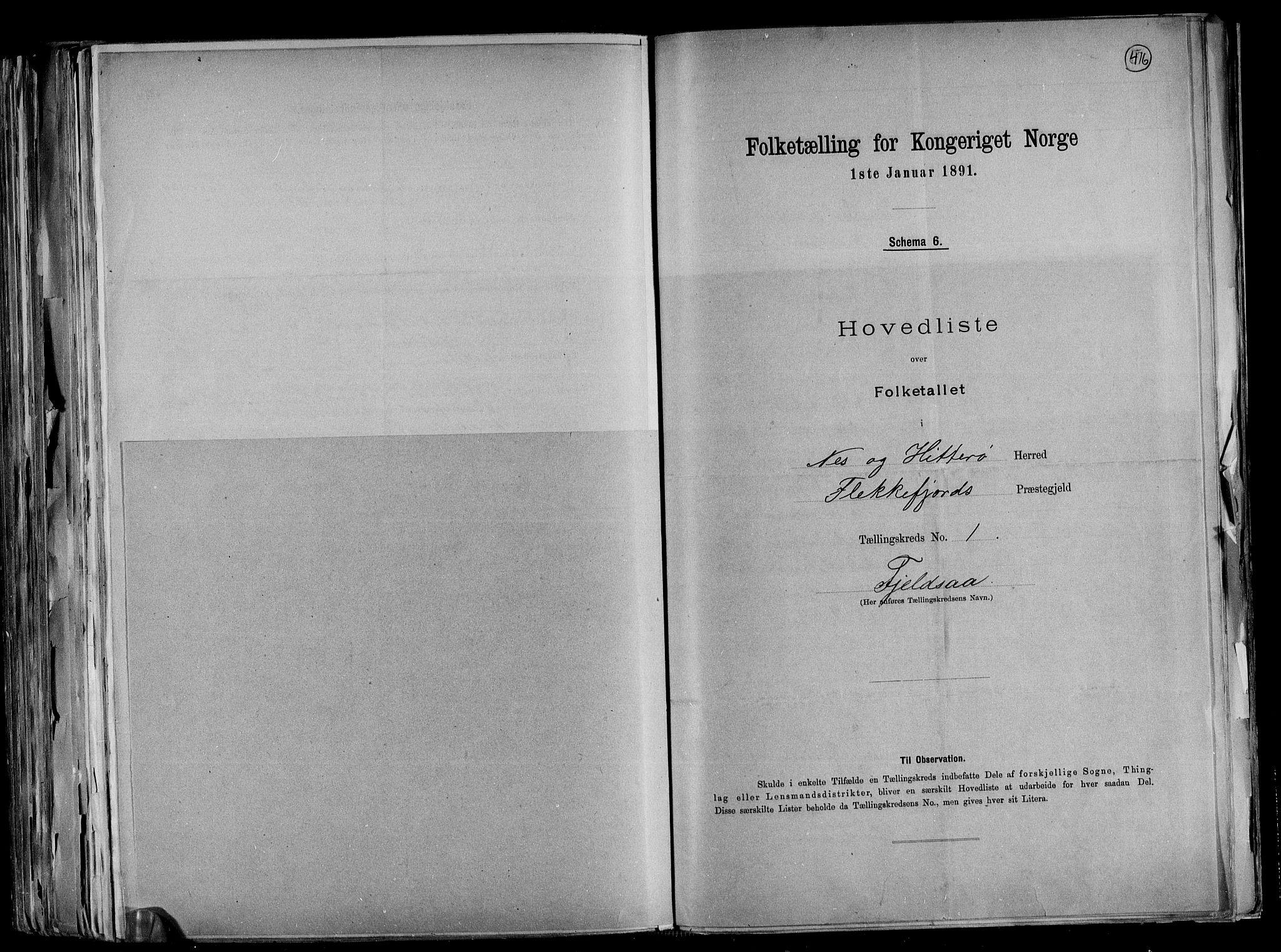 RA, Folketelling 1891 for 1043 Hidra og Nes herred, 1891, s. 5