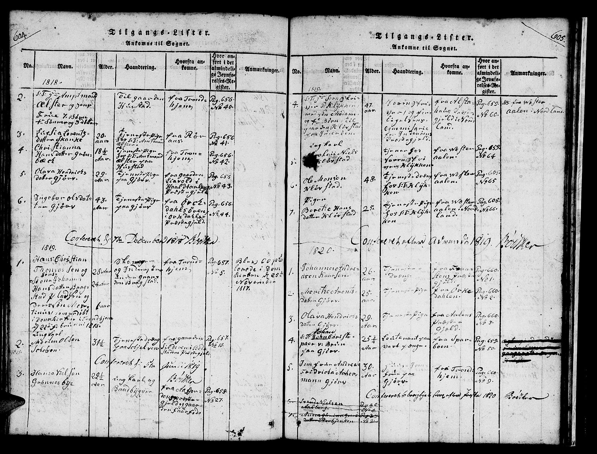 SAT, Ministerialprotokoller, klokkerbøker og fødselsregistre - Nord-Trøndelag, 732/L0317: Klokkerbok nr. 732C01, 1816-1881, s. 604-605