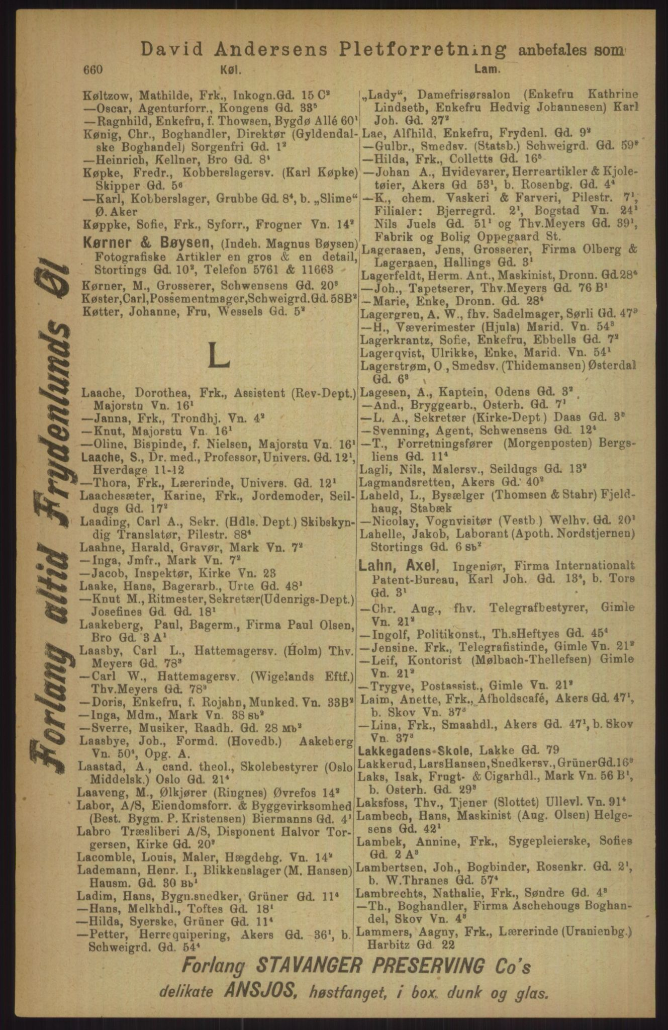 RA, Kristiania adressebok (publikasjon)*, 1911, s. 660