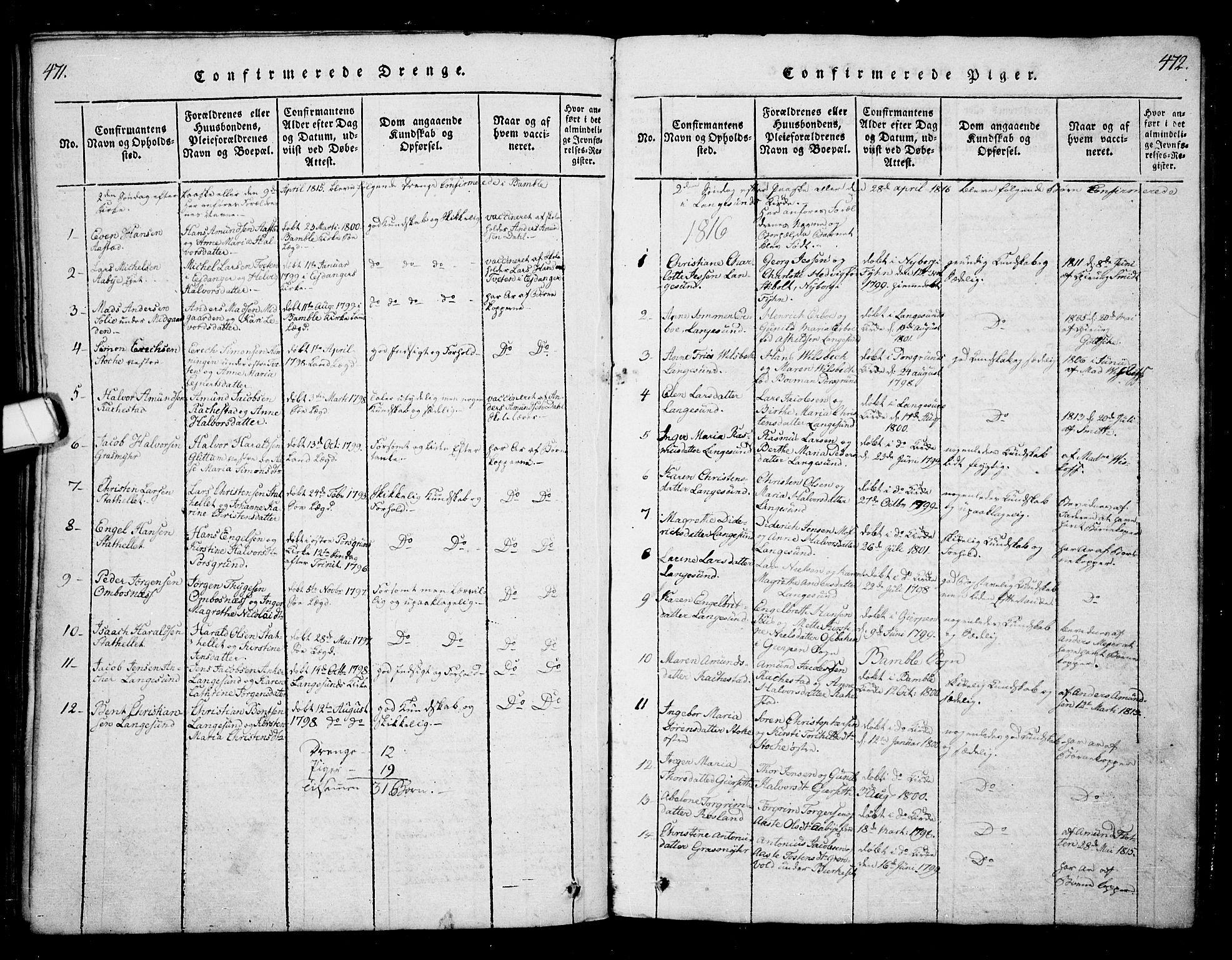 SAKO, Bamble kirkebøker, G/Ga/L0005: Klokkerbok nr. I 5, 1814-1855, s. 471-472