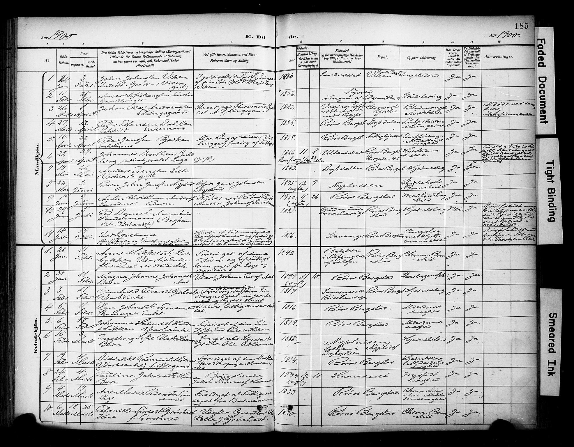 SAT, Ministerialprotokoller, klokkerbøker og fødselsregistre - Sør-Trøndelag, 681/L0936: Ministerialbok nr. 681A14, 1899-1908, s. 185