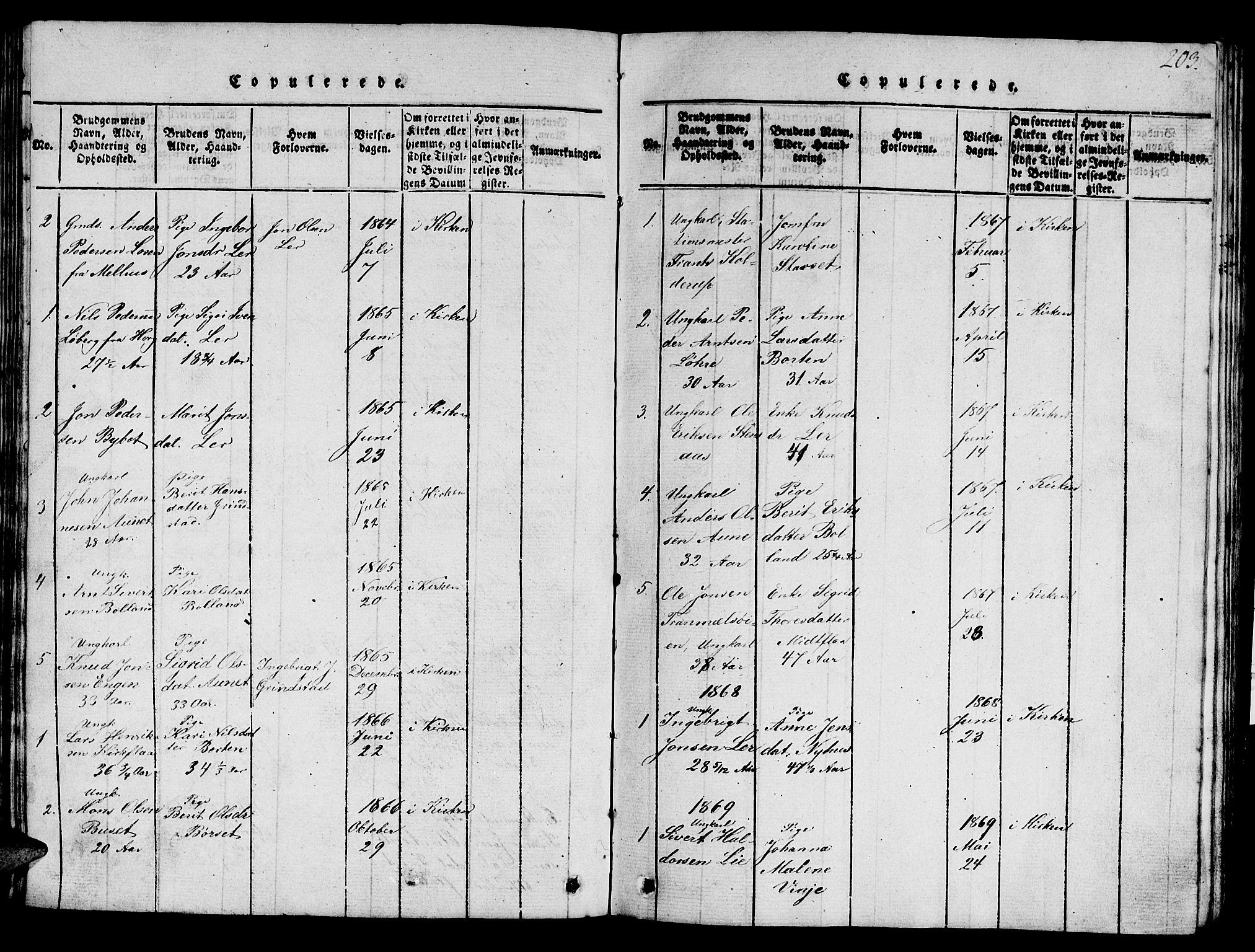 SAT, Ministerialprotokoller, klokkerbøker og fødselsregistre - Sør-Trøndelag, 693/L1121: Klokkerbok nr. 693C02, 1816-1869, s. 203