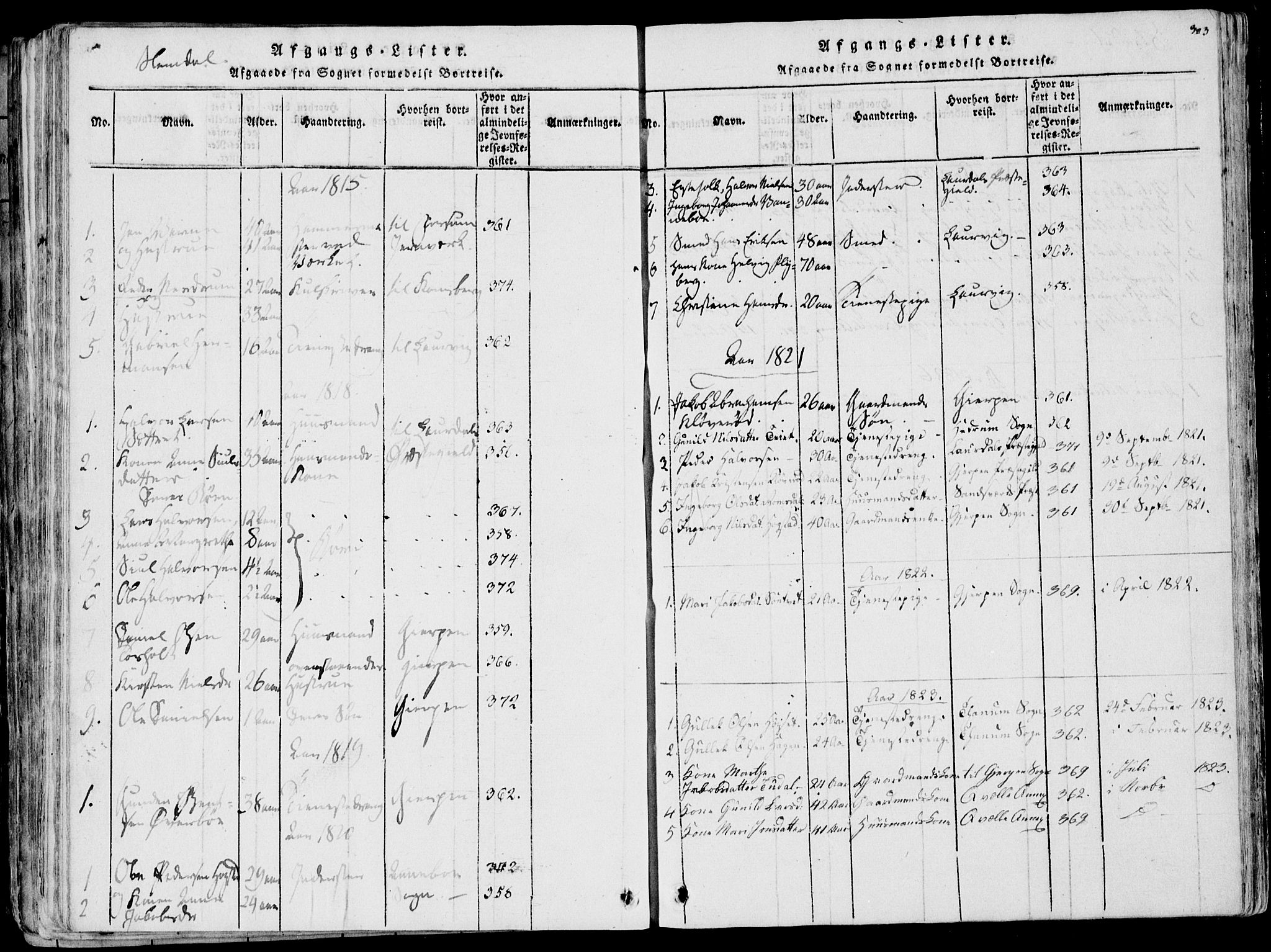 SAKO, Eidanger kirkebøker, F/Fa/L0007: Ministerialbok nr. 7, 1814-1831, s. 303