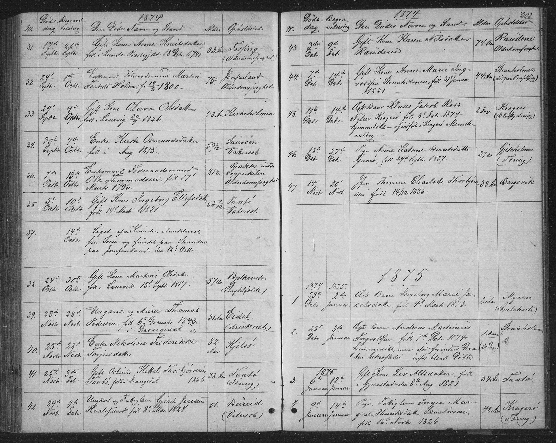 SAKO, Skåtøy kirkebøker, G/Ga/L0002: Klokkerbok nr. I 2, 1872-1884, s. 203