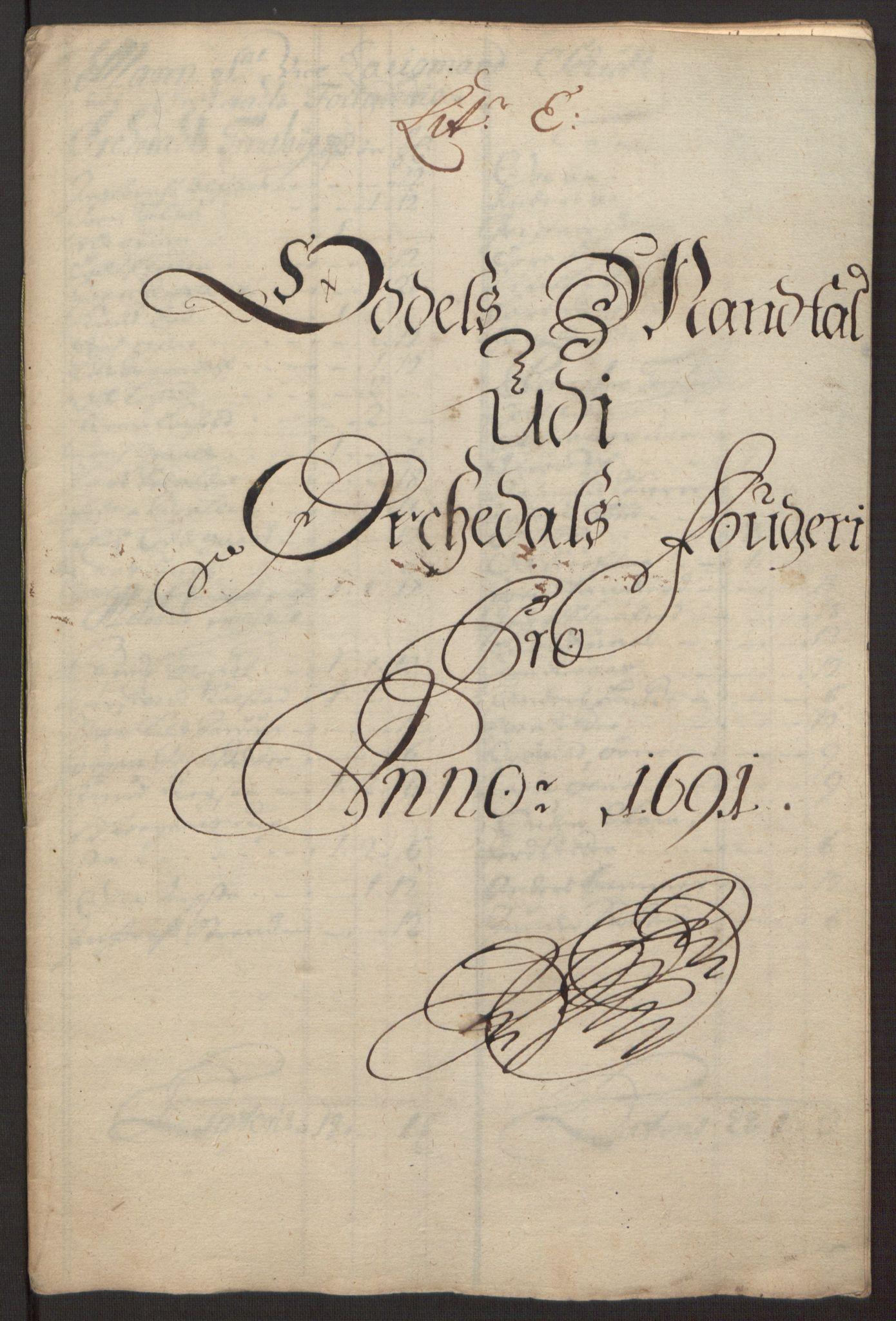 RA, Rentekammeret inntil 1814, Reviderte regnskaper, Fogderegnskap, R58/L3937: Fogderegnskap Orkdal, 1691-1692, s. 50