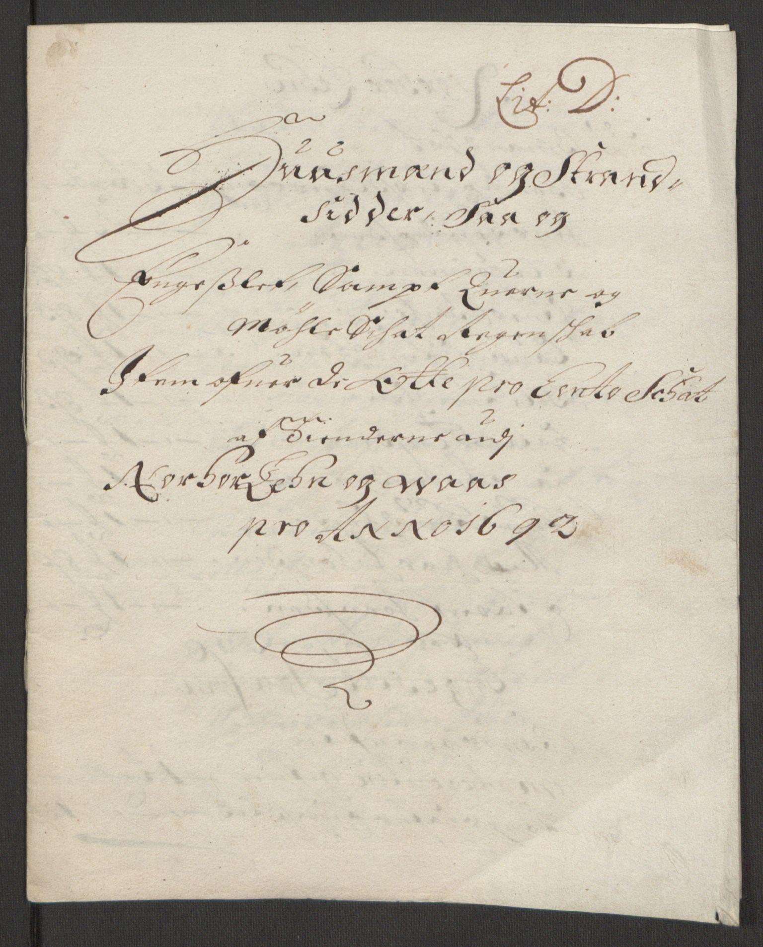 RA, Rentekammeret inntil 1814, Reviderte regnskaper, Fogderegnskap, R51/L3181: Fogderegnskap Nordhordland og Voss, 1691-1692, s. 315