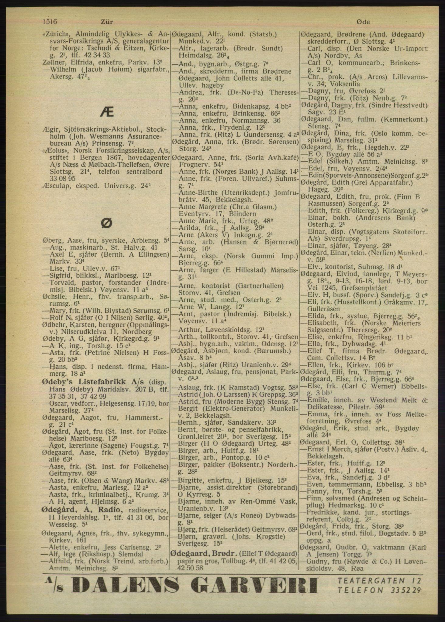 RA, Oslo adressebok (publikasjon)*, 1949, s. 1516