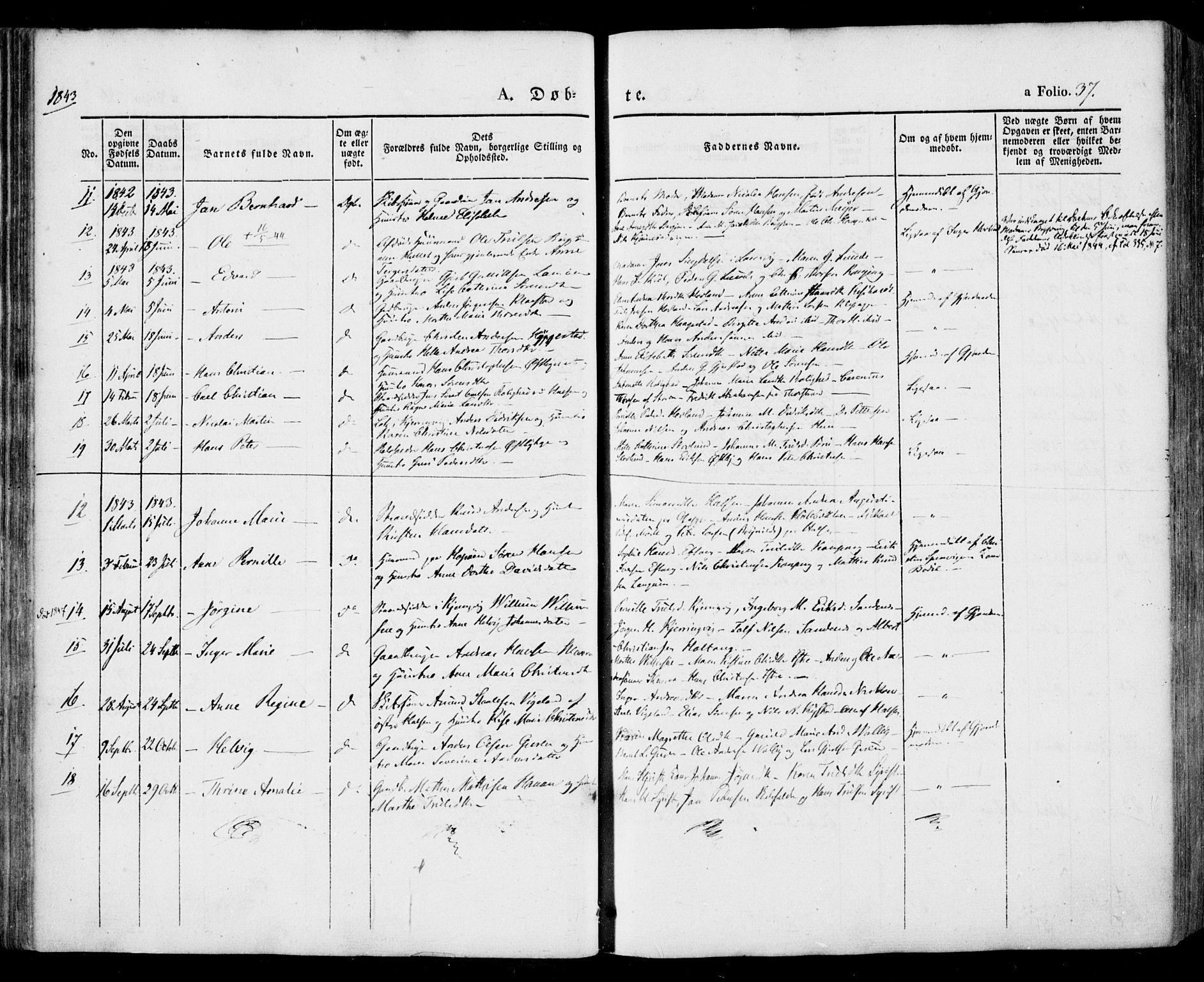 SAKO, Tjølling kirkebøker, F/Fa/L0006: Ministerialbok nr. 6, 1835-1859, s. 37