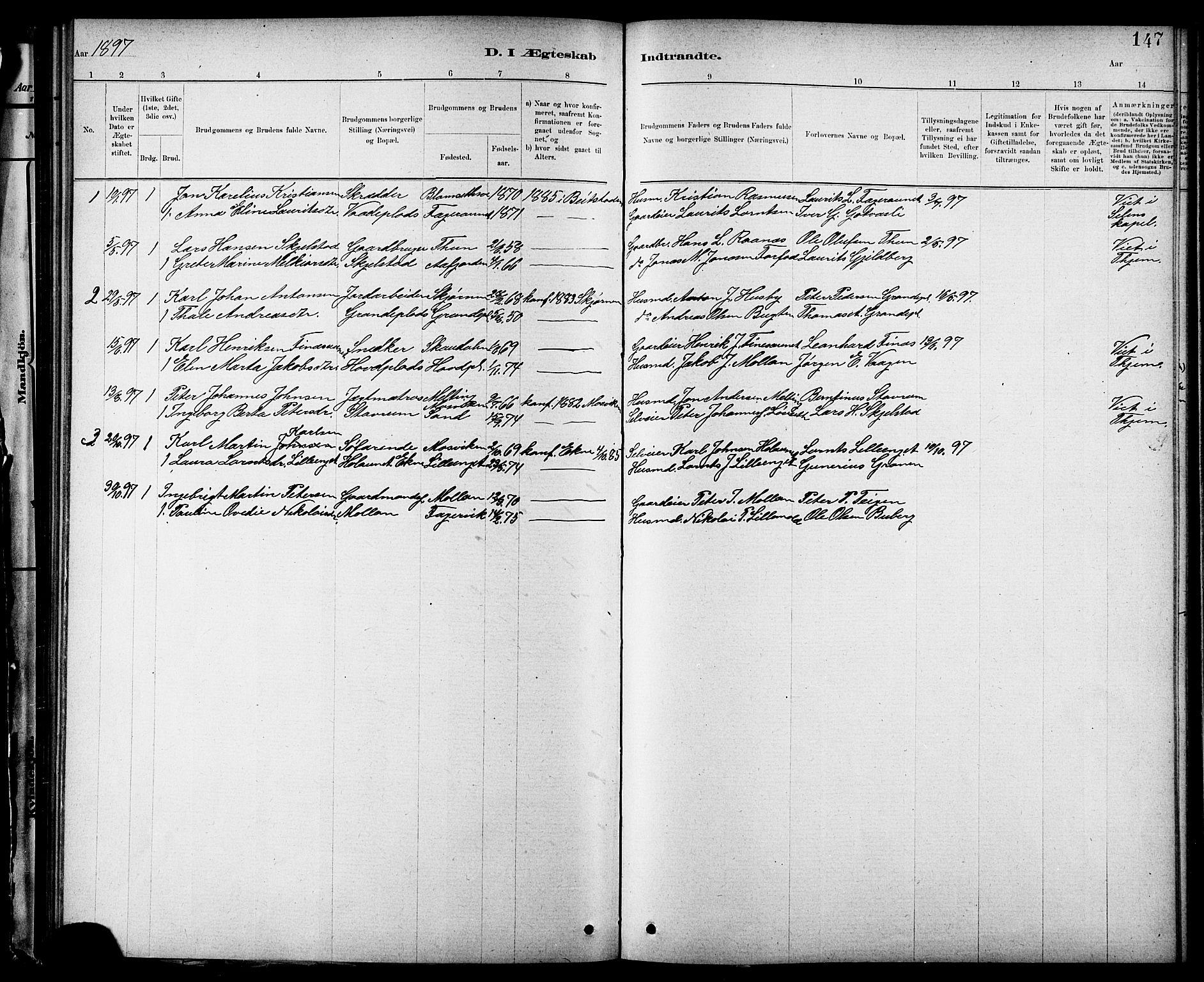SAT, Ministerialprotokoller, klokkerbøker og fødselsregistre - Nord-Trøndelag, 744/L0423: Klokkerbok nr. 744C02, 1886-1905, s. 147