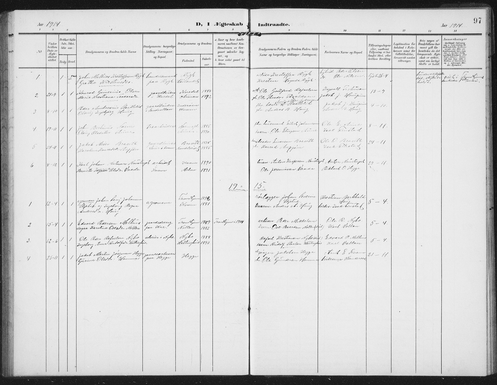 SAT, Ministerialprotokoller, klokkerbøker og fødselsregistre - Nord-Trøndelag, 747/L0460: Klokkerbok nr. 747C02, 1908-1939, s. 97