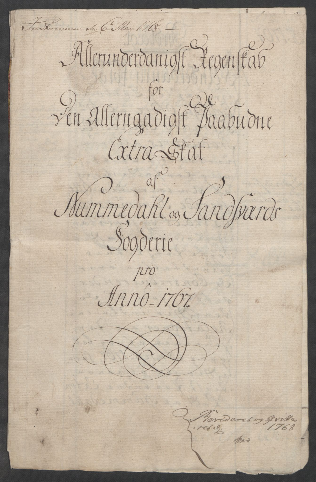 RA, Rentekammeret inntil 1814, Reviderte regnskaper, Fogderegnskap, R24/L1672: Ekstraskatten Numedal og Sandsvær, 1762-1767, s. 320