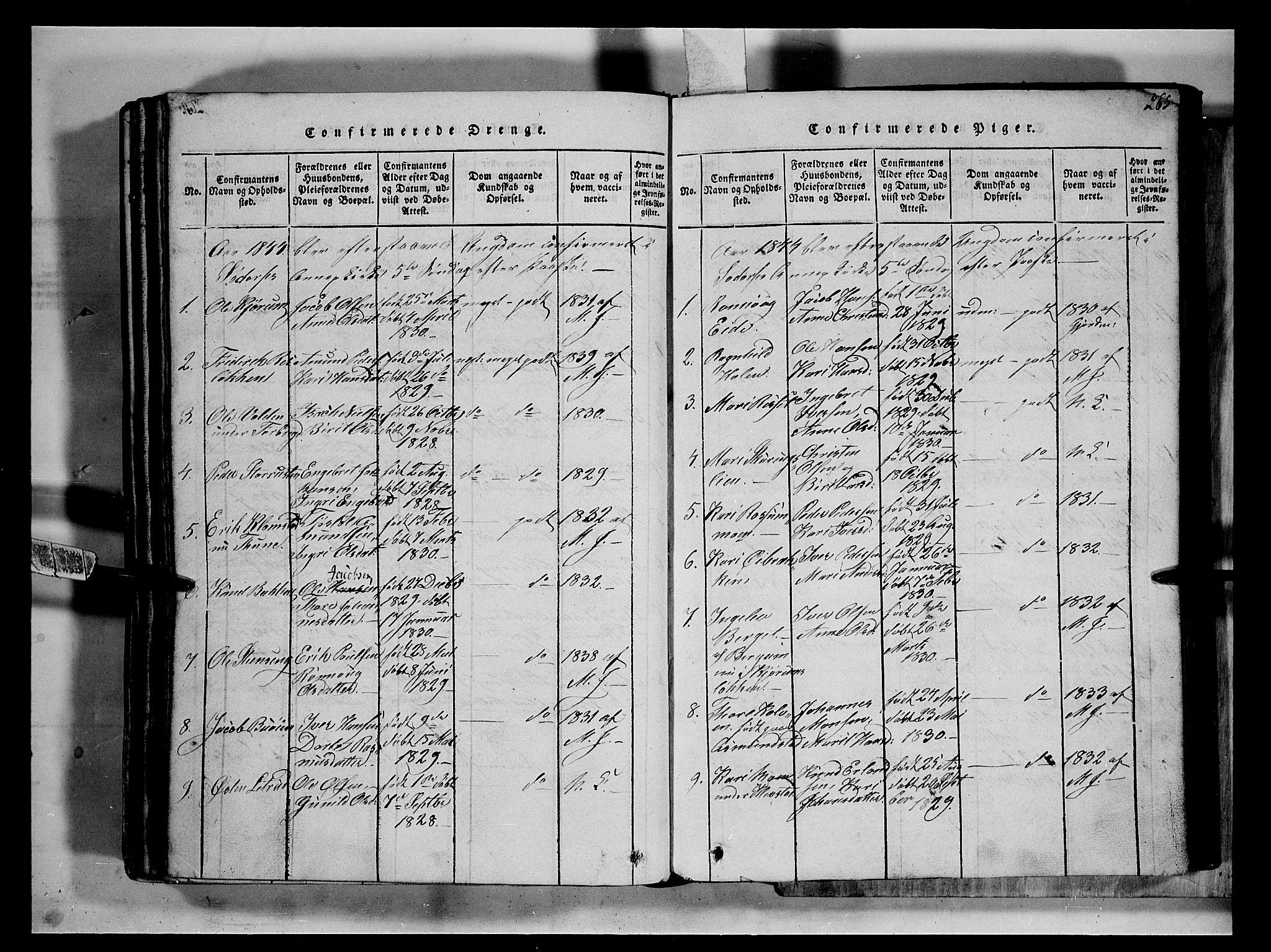 SAH, Fron prestekontor, H/Ha/Hab/L0002: Klokkerbok nr. 2, 1816-1850, s. 265