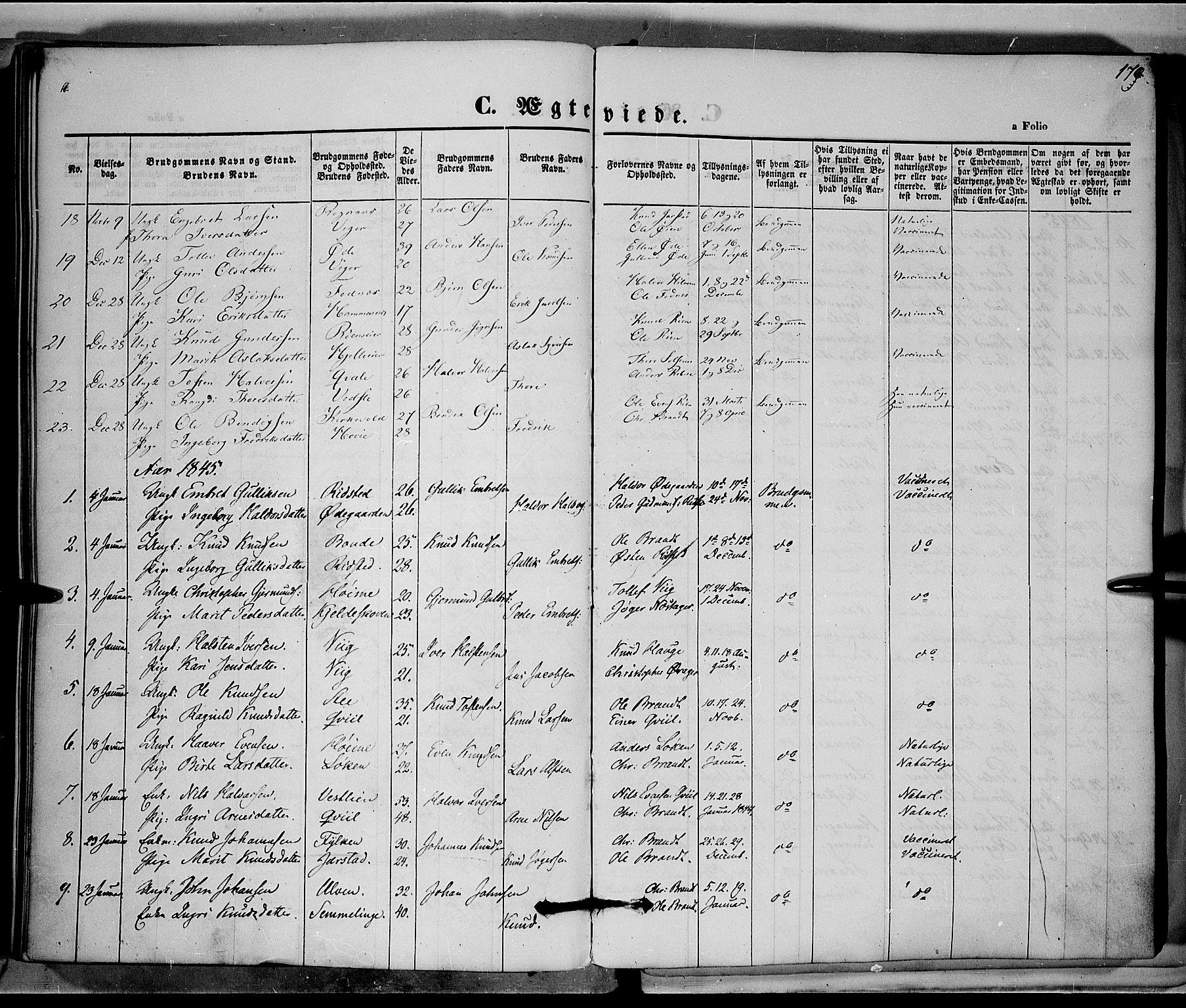 SAH, Vestre Slidre prestekontor, Ministerialbok nr. 1, 1844-1855, s. 170