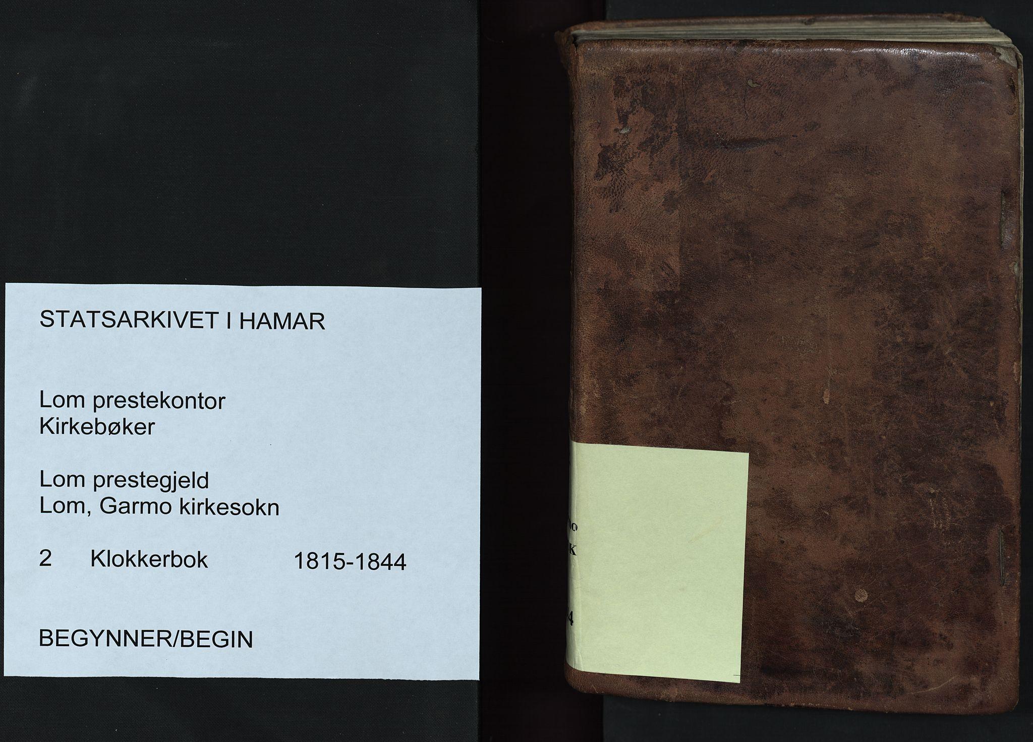 SAH, Lom prestekontor, L/L0002: Klokkerbok nr. 2, 1815-1844