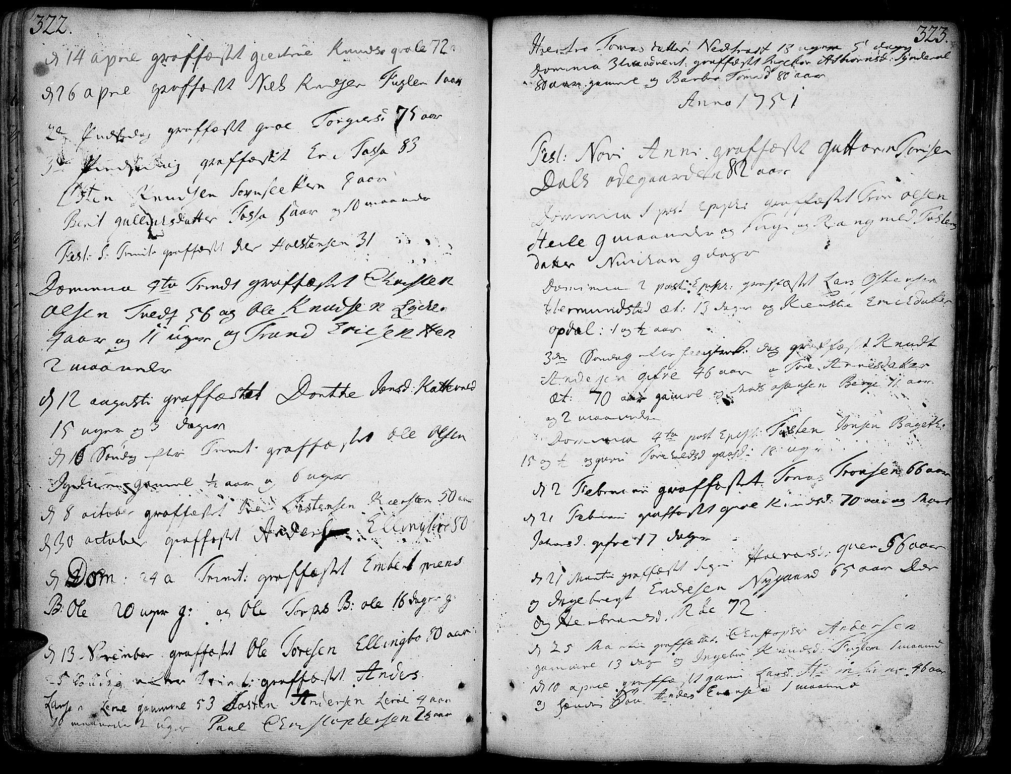 SAH, Vang prestekontor, Valdres, Ministerialbok nr. 1, 1730-1796, s. 322-323