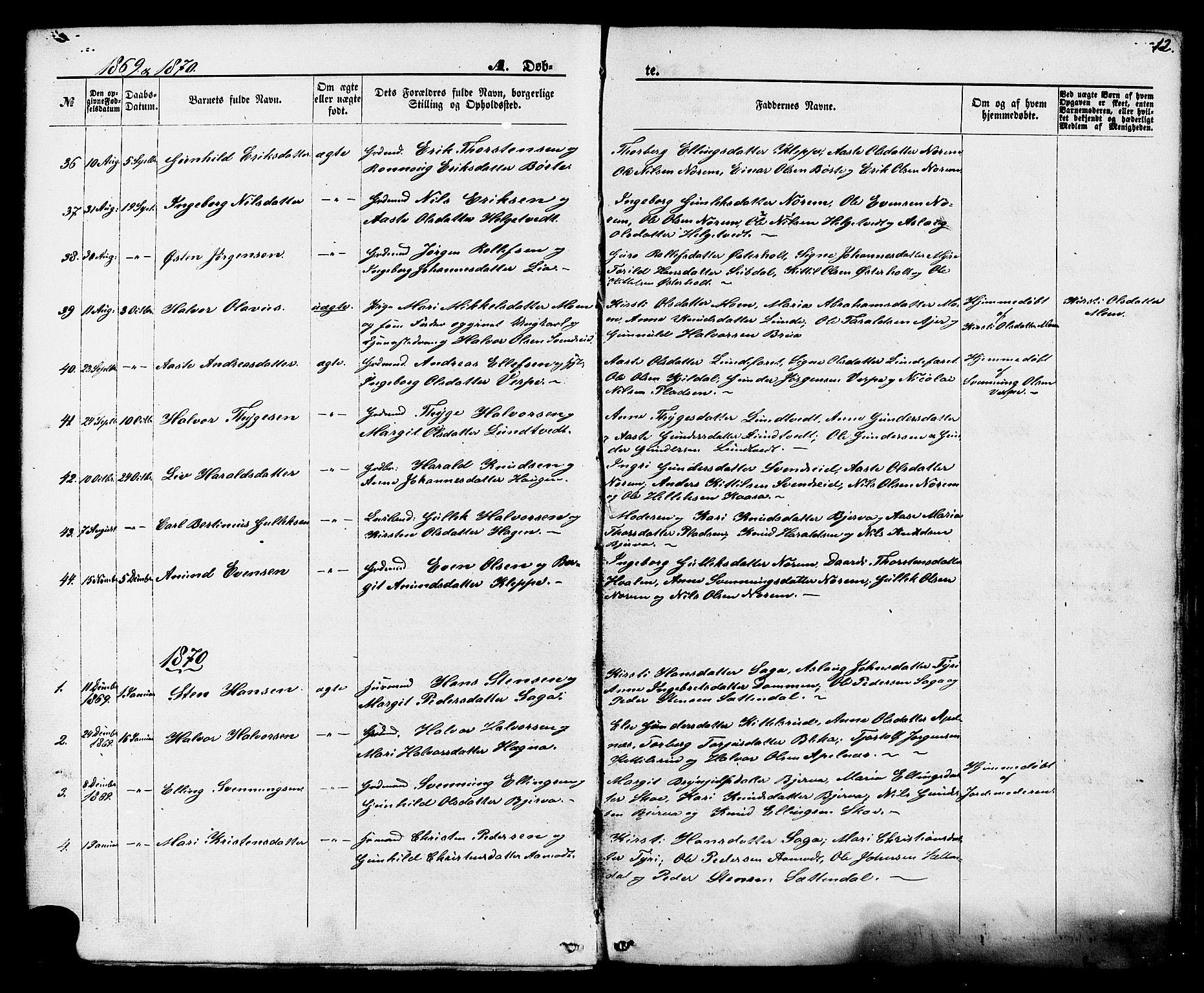 SAKO, Lunde kirkebøker, F/Fa/L0001: Ministerialbok nr. I 1, 1866-1883, s. 12