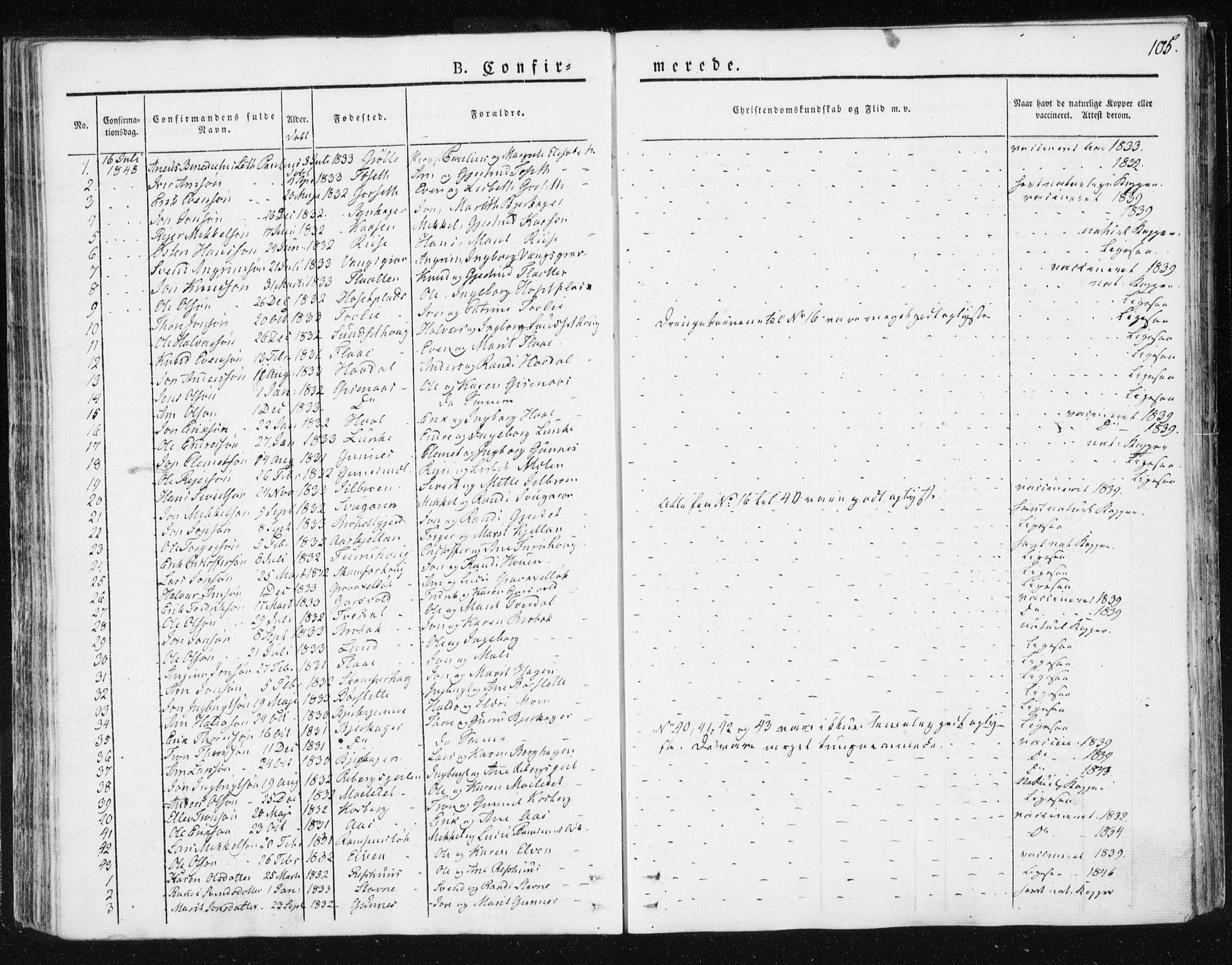 SAT, Ministerialprotokoller, klokkerbøker og fødselsregistre - Sør-Trøndelag, 674/L0869: Ministerialbok nr. 674A01, 1829-1860, s. 105