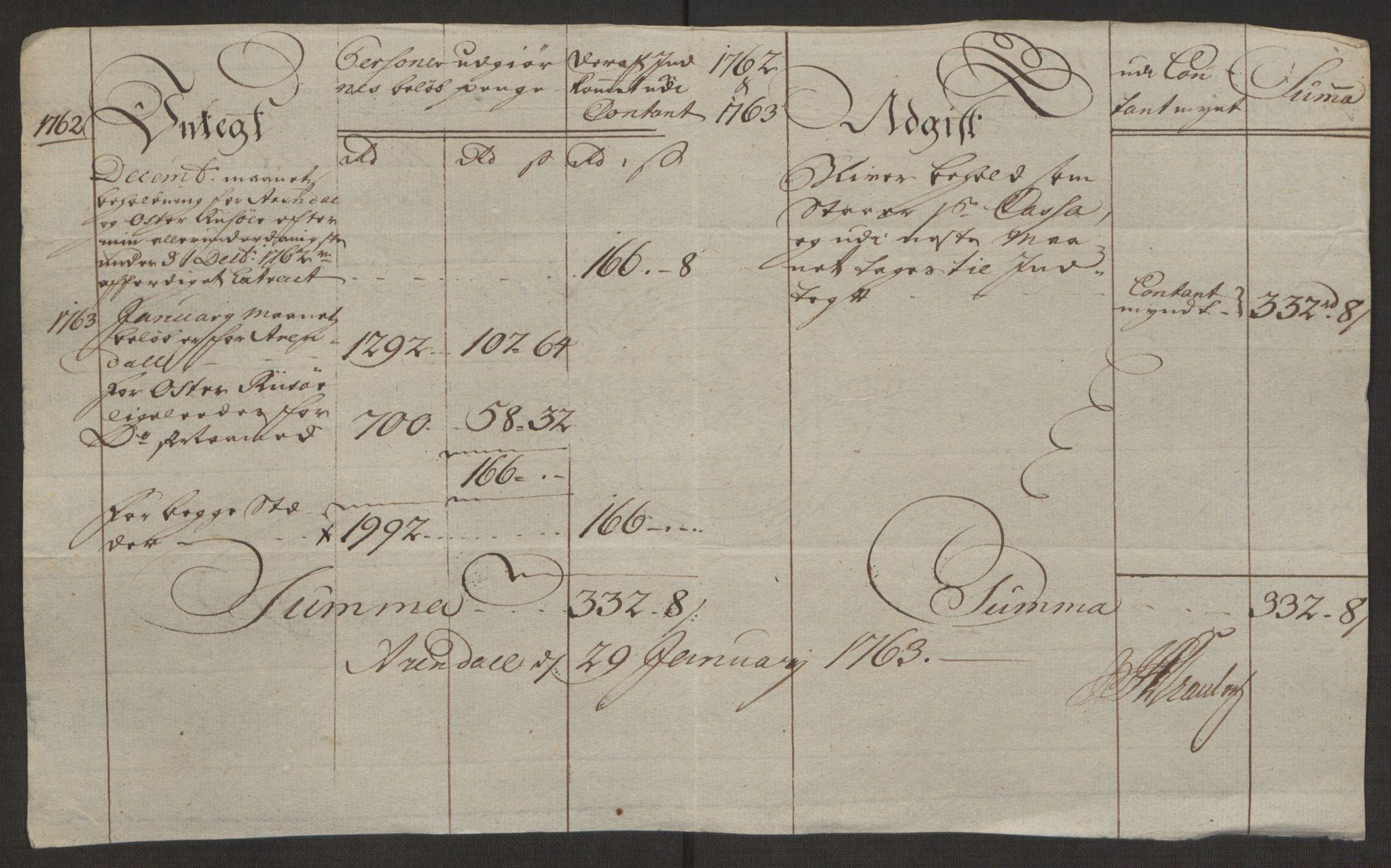 RA, Rentekammeret inntil 1814, Reviderte regnskaper, Byregnskaper, R/Rl/L0230: [L4] Kontribusjonsregnskap, 1762-1764, s. 134