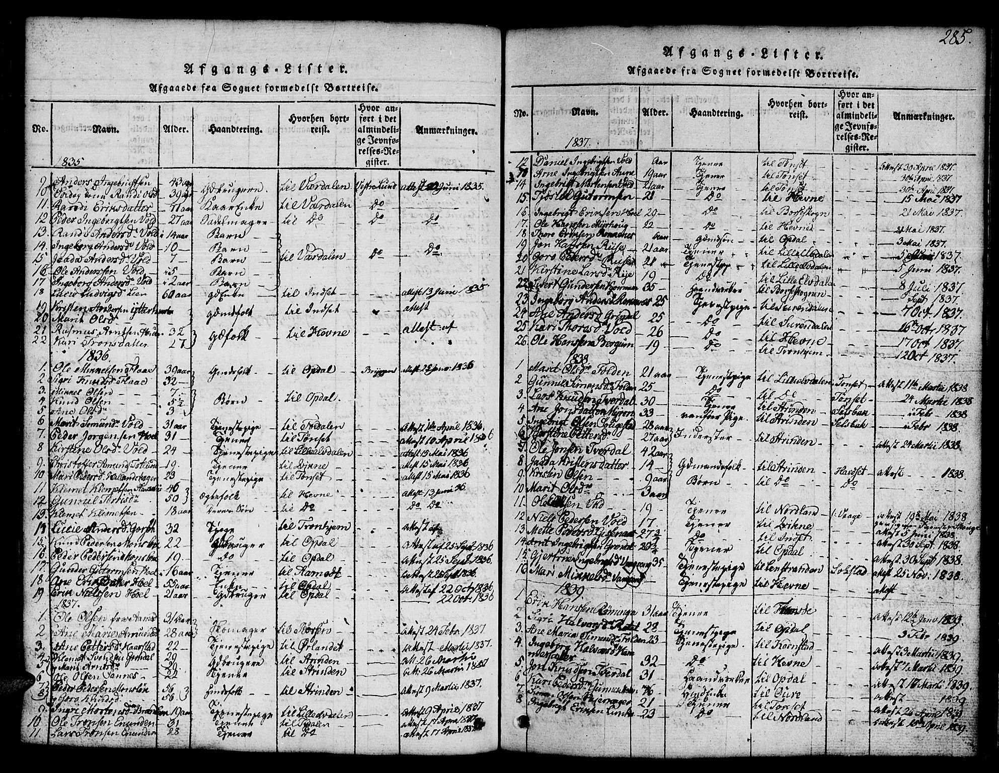 SAT, Ministerialprotokoller, klokkerbøker og fødselsregistre - Sør-Trøndelag, 674/L0874: Klokkerbok nr. 674C01, 1816-1860, s. 285