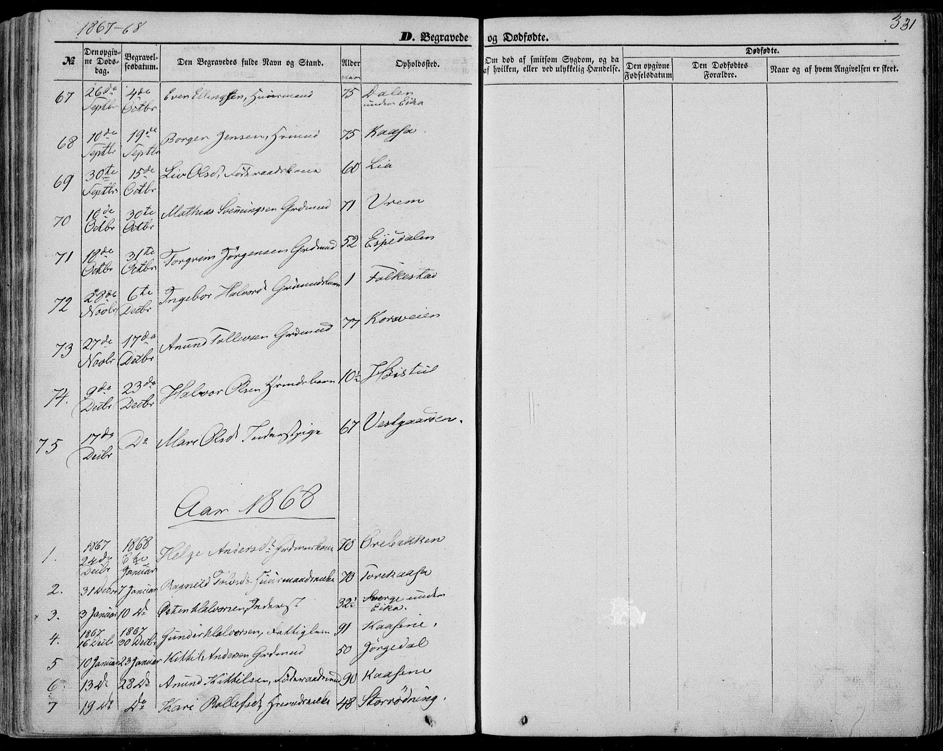 SAKO, Bø kirkebøker, F/Fa/L0009: Ministerialbok nr. 9, 1862-1879, s. 331
