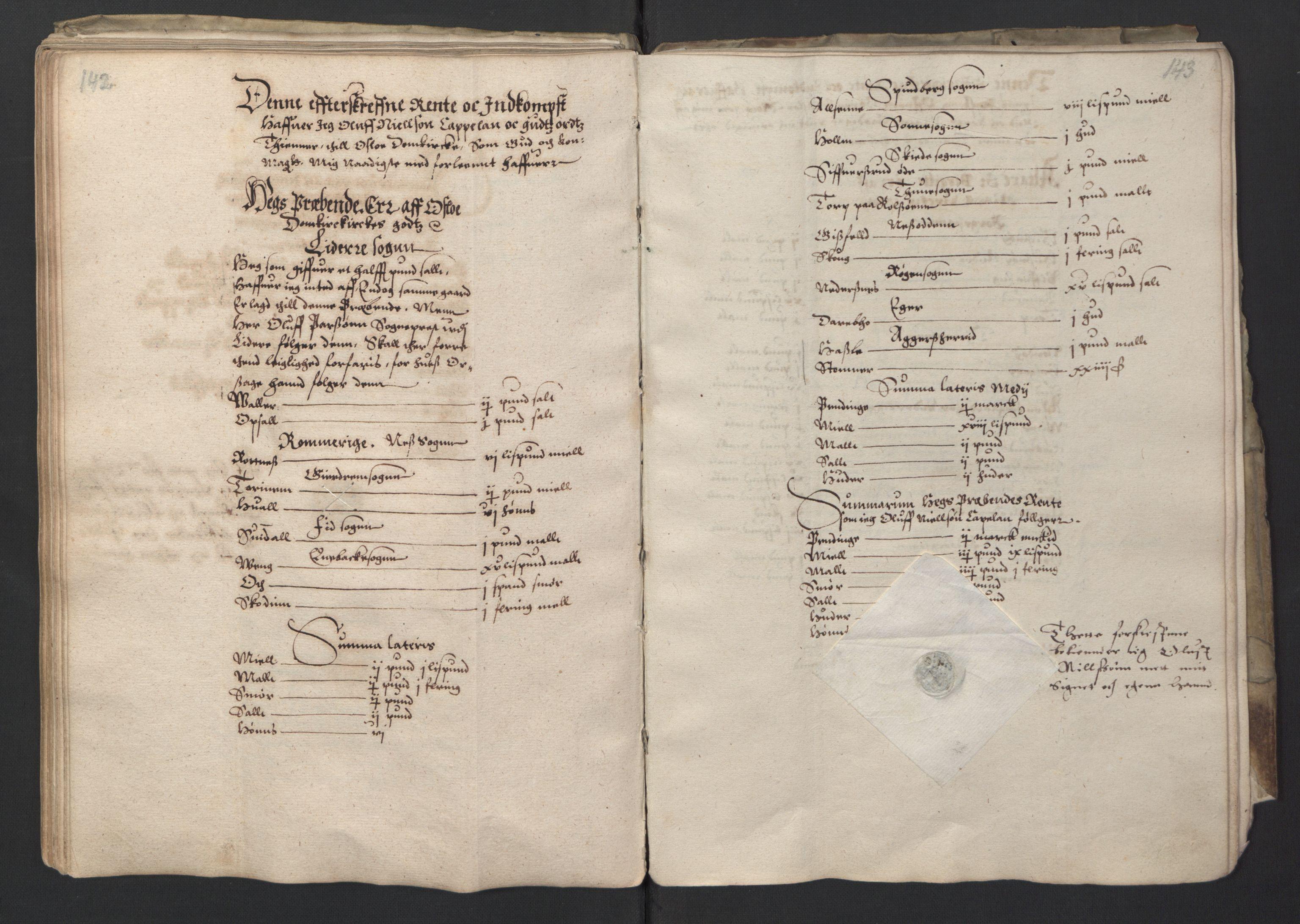 RA, Stattholderembetet 1572-1771, Ek/L0001: Jordebøker før 1624 og til utligning av garnisonsskatt 1624-1626:, 1595, s. 142-143