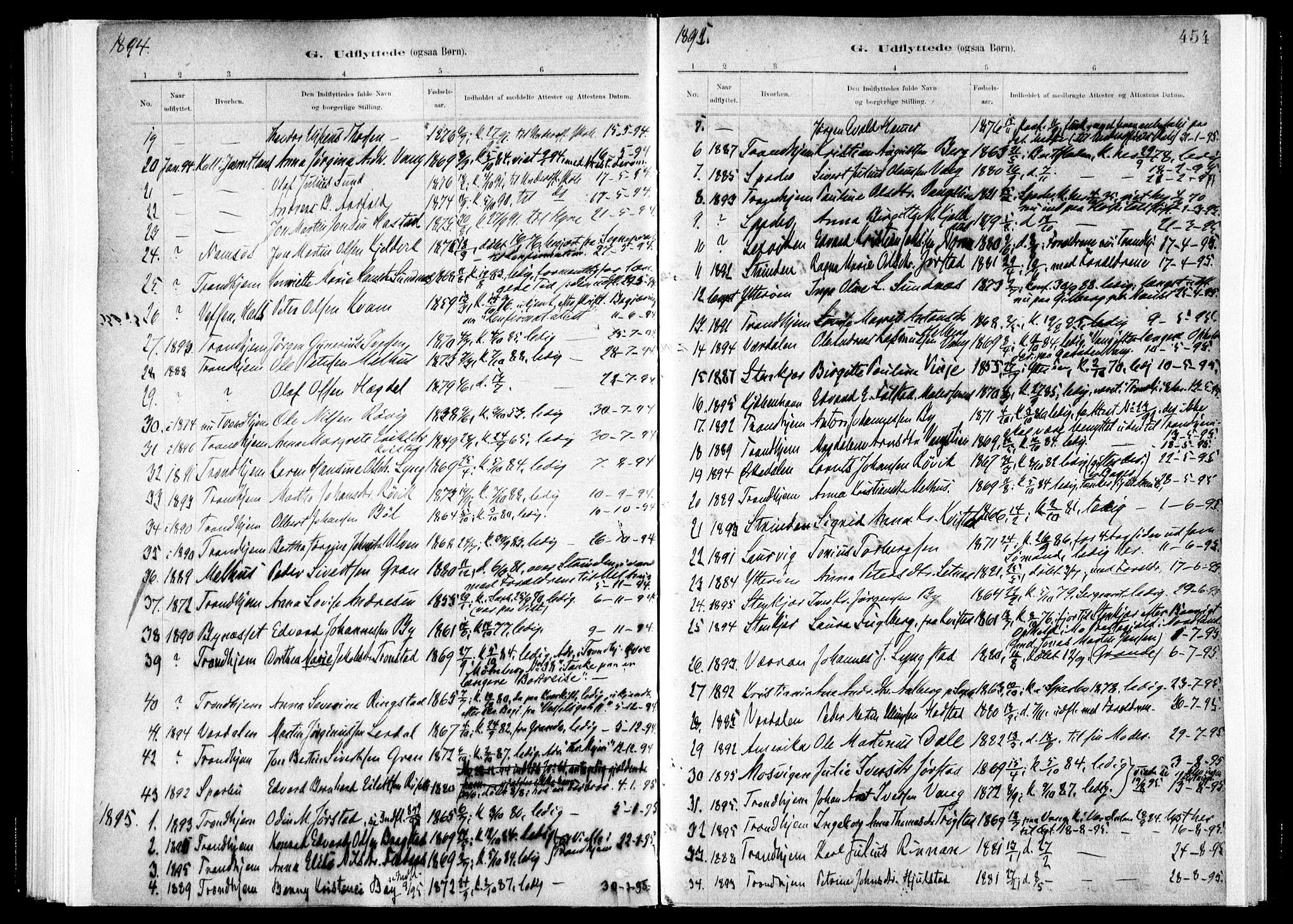 SAT, Ministerialprotokoller, klokkerbøker og fødselsregistre - Nord-Trøndelag, 730/L0285: Ministerialbok nr. 730A10, 1879-1914, s. 454