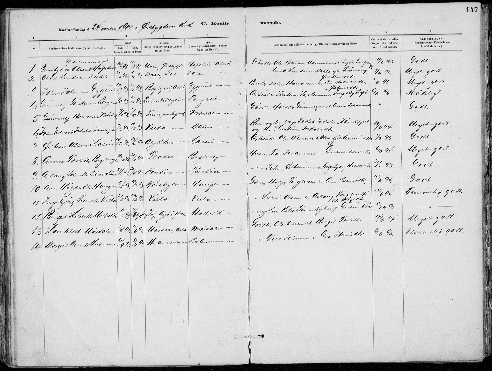 SAKO, Tinn kirkebøker, F/Fa/L0007: Ministerialbok nr. I 7, 1878-1922, s. 147