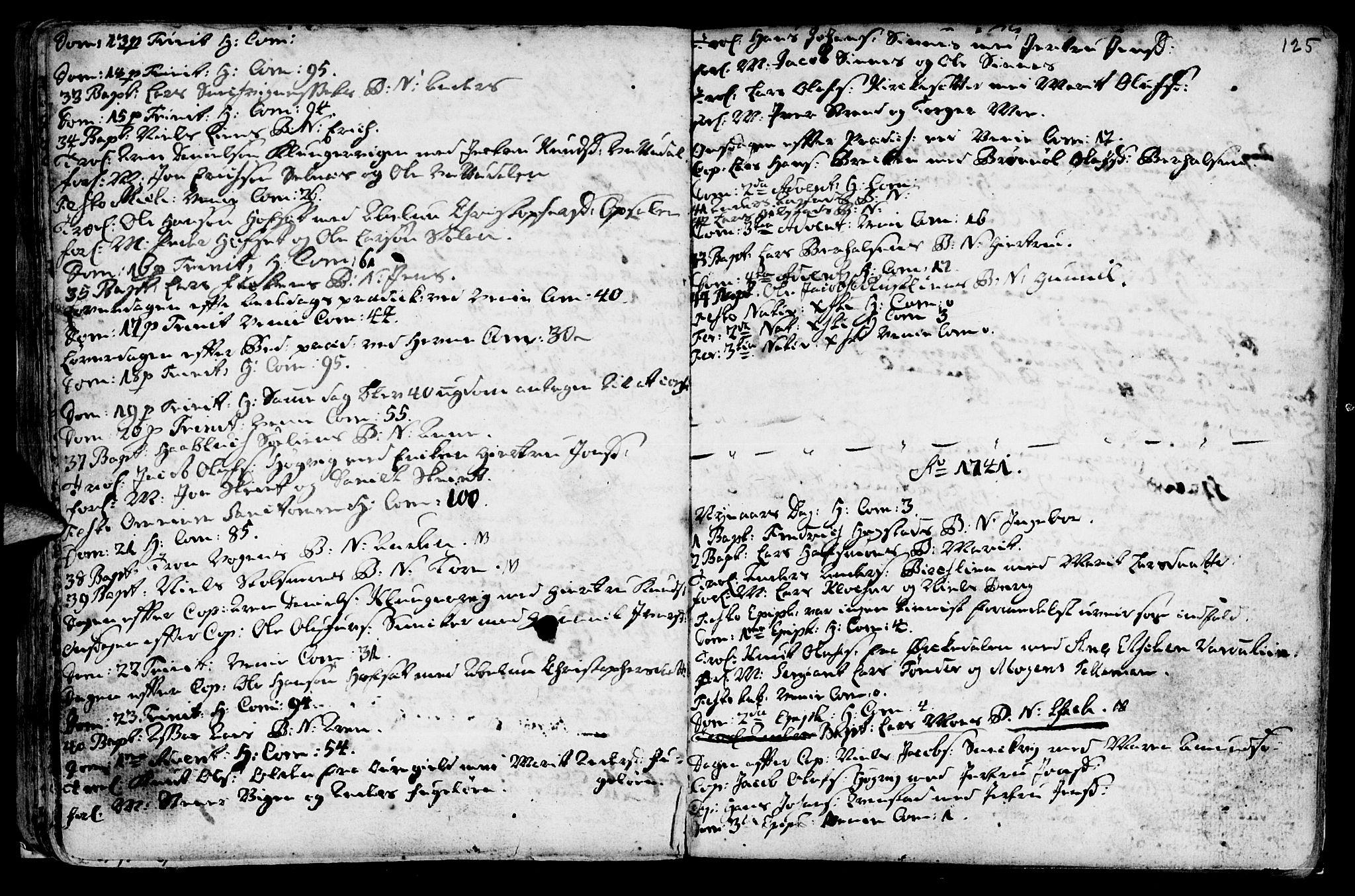 SAT, Ministerialprotokoller, klokkerbøker og fødselsregistre - Sør-Trøndelag, 630/L0488: Ministerialbok nr. 630A01, 1717-1756, s. 124-125