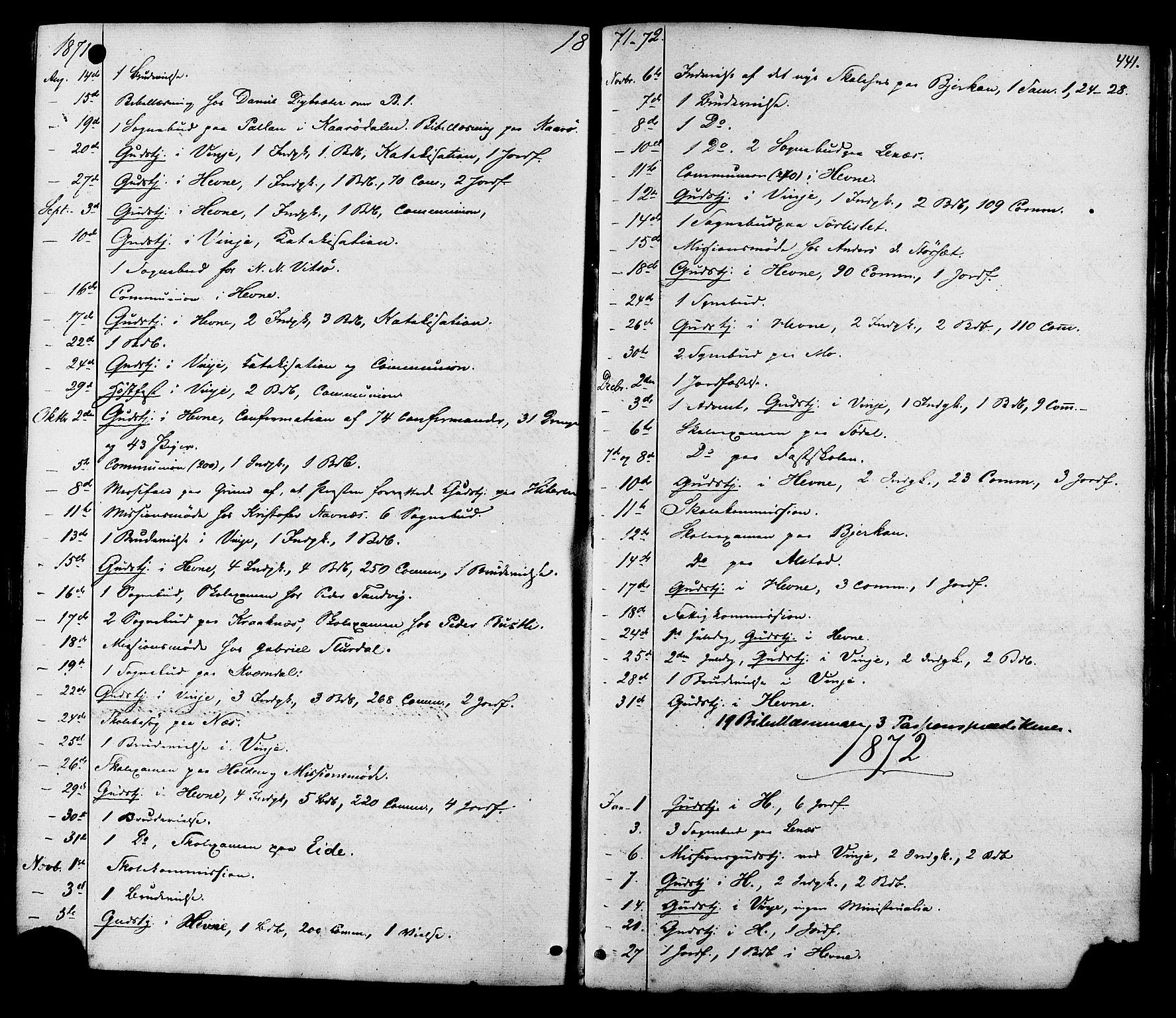 SAT, Ministerialprotokoller, klokkerbøker og fødselsregistre - Sør-Trøndelag, 630/L0495: Ministerialbok nr. 630A08, 1868-1878, s. 441