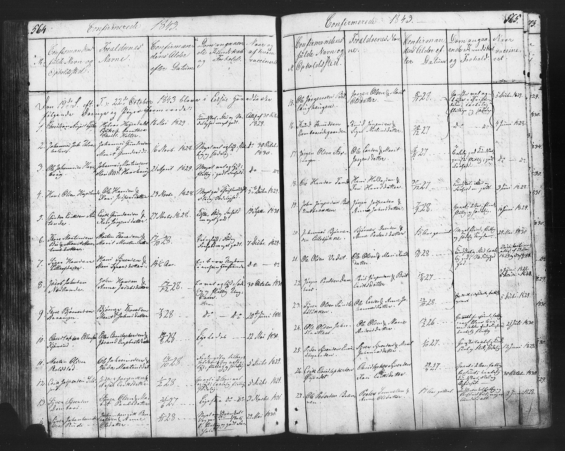 SAH, Lesja prestekontor, Klokkerbok nr. 2, 1832-1850, s. 564-565