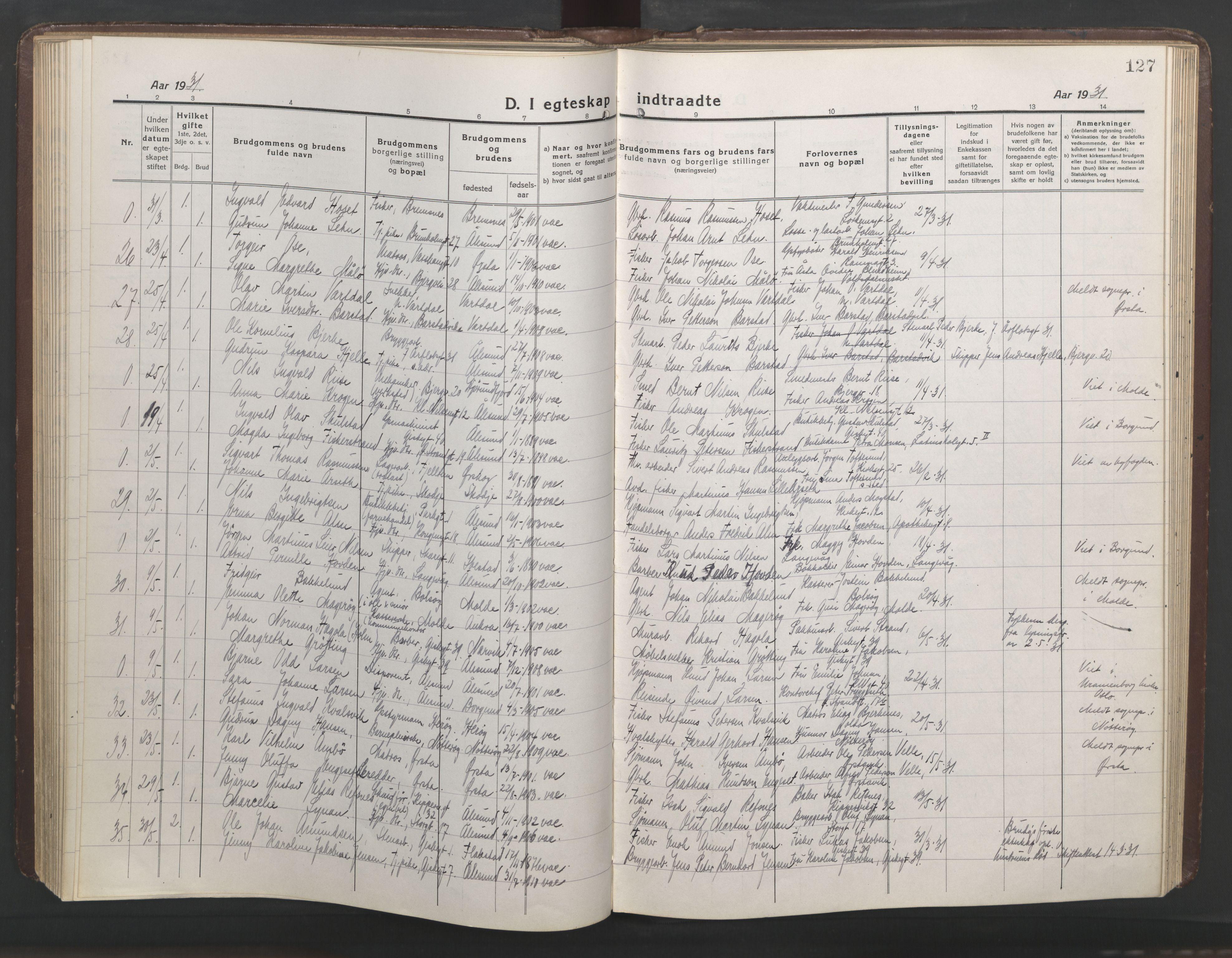 SAT, Ministerialprotokoller, klokkerbøker og fødselsregistre - Møre og Romsdal, 529/L0473: Klokkerbok nr. 529C10, 1918-1941, s. 127