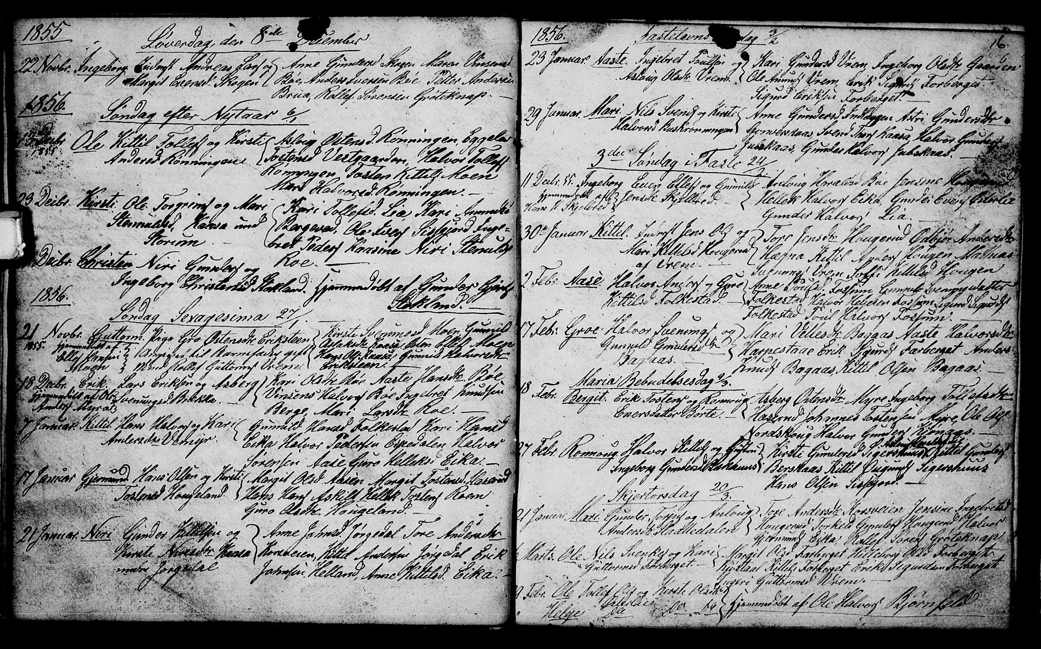 SAKO, Bø kirkebøker, G/Ga/L0002: Klokkerbok nr. 2, 1853-1866, s. 16