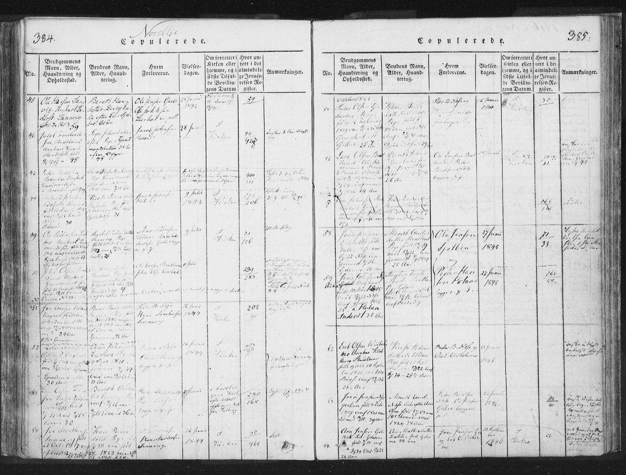 SAT, Ministerialprotokoller, klokkerbøker og fødselsregistre - Nord-Trøndelag, 755/L0491: Ministerialbok nr. 755A01 /1, 1817-1864, s. 384-385