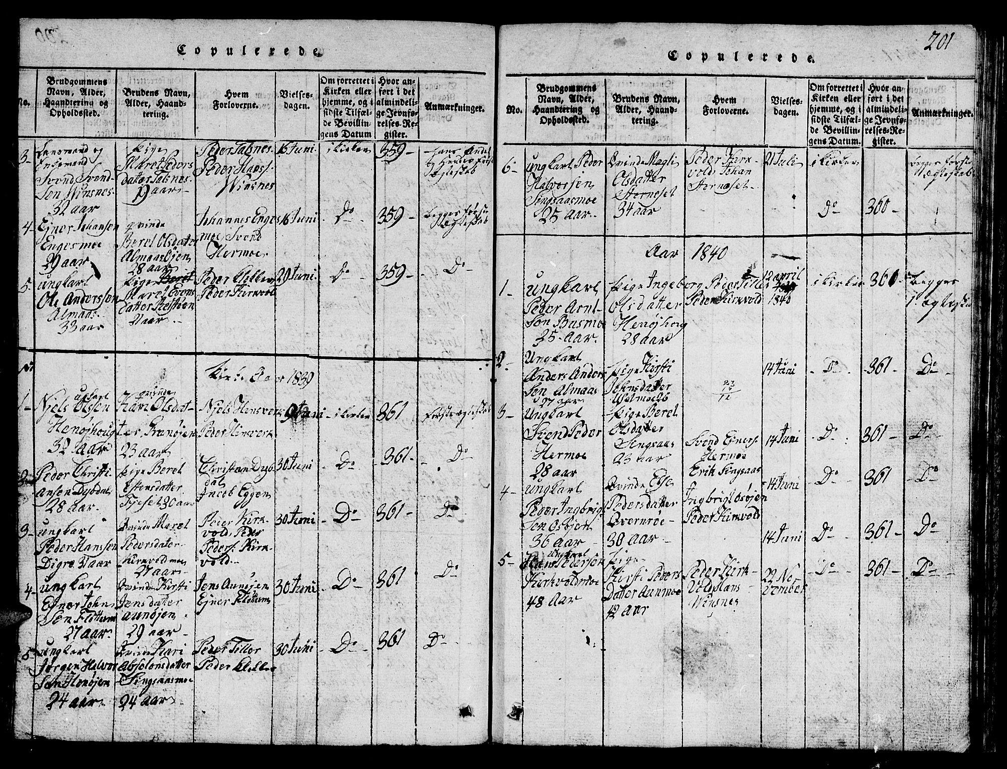 SAT, Ministerialprotokoller, klokkerbøker og fødselsregistre - Sør-Trøndelag, 688/L1026: Klokkerbok nr. 688C01, 1817-1860, s. 201