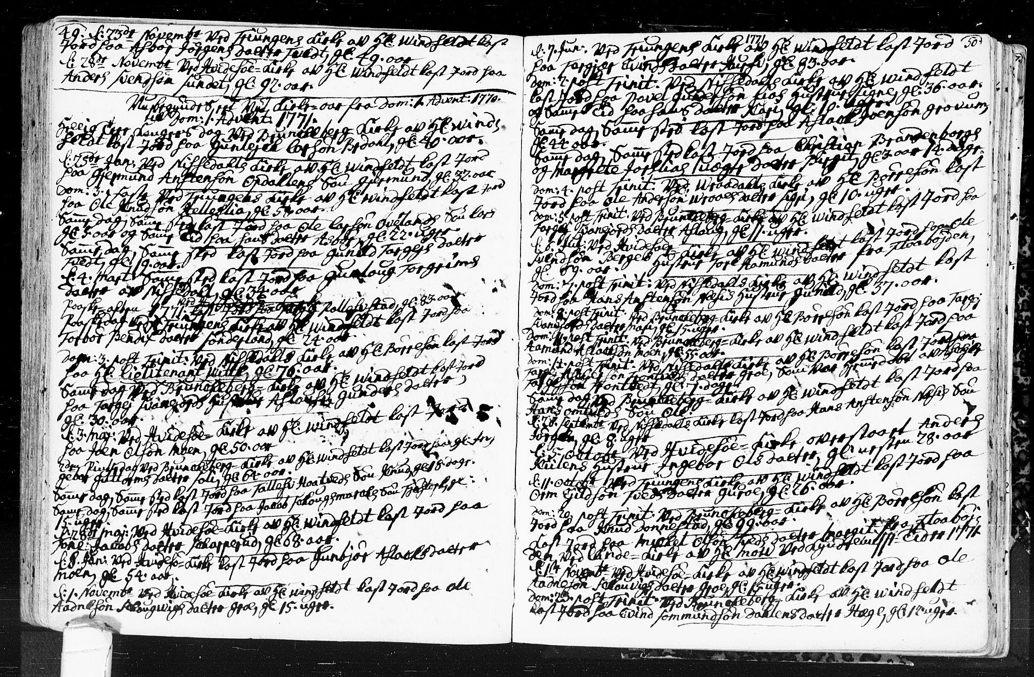 SAKO, Kviteseid kirkebøker, F/Fa/L0001: Ministerialbok nr. I 1, 1754-1773, s. 49-50