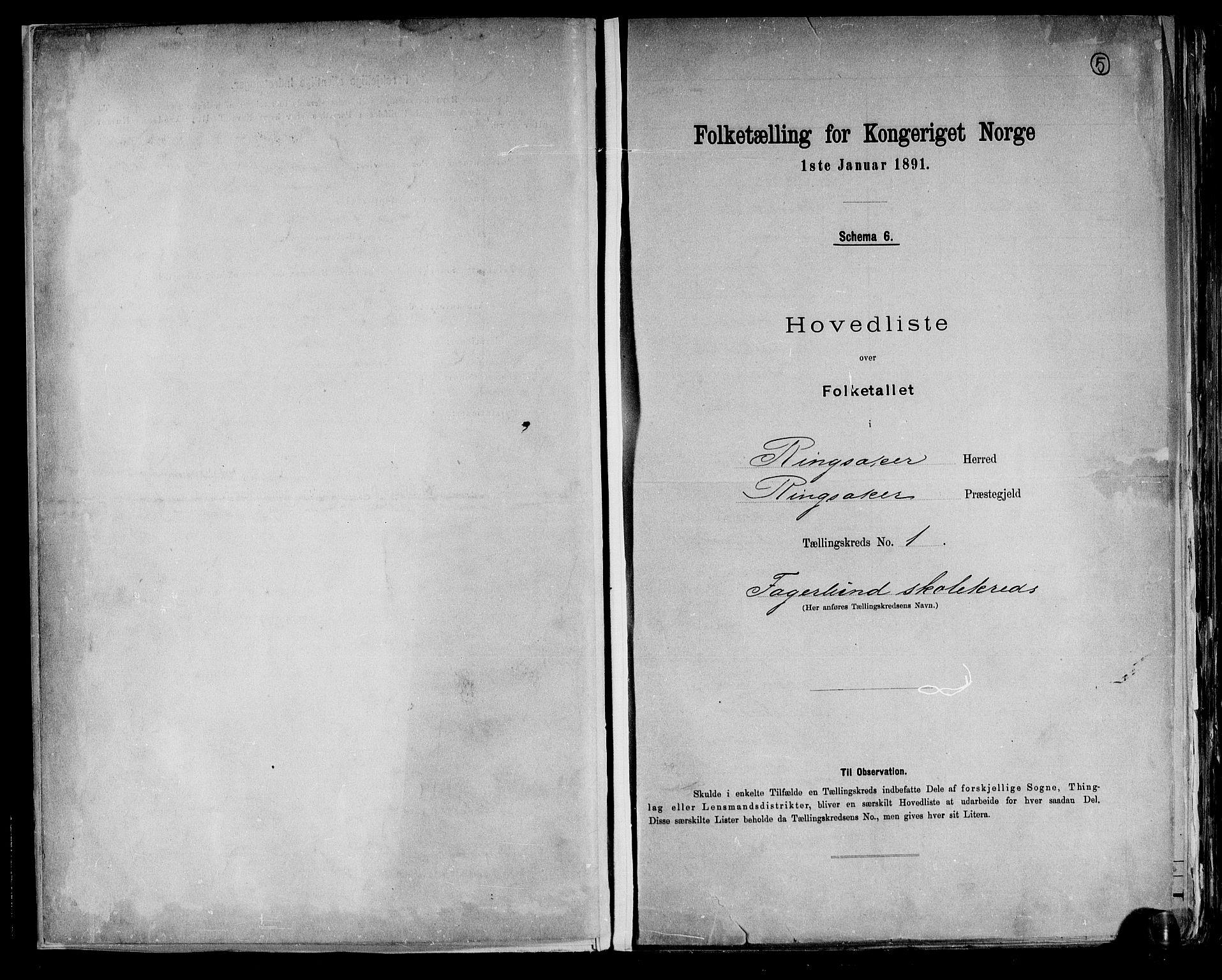 RA, Folketelling 1891 for 0412 Ringsaker herred, 1891, s. 5