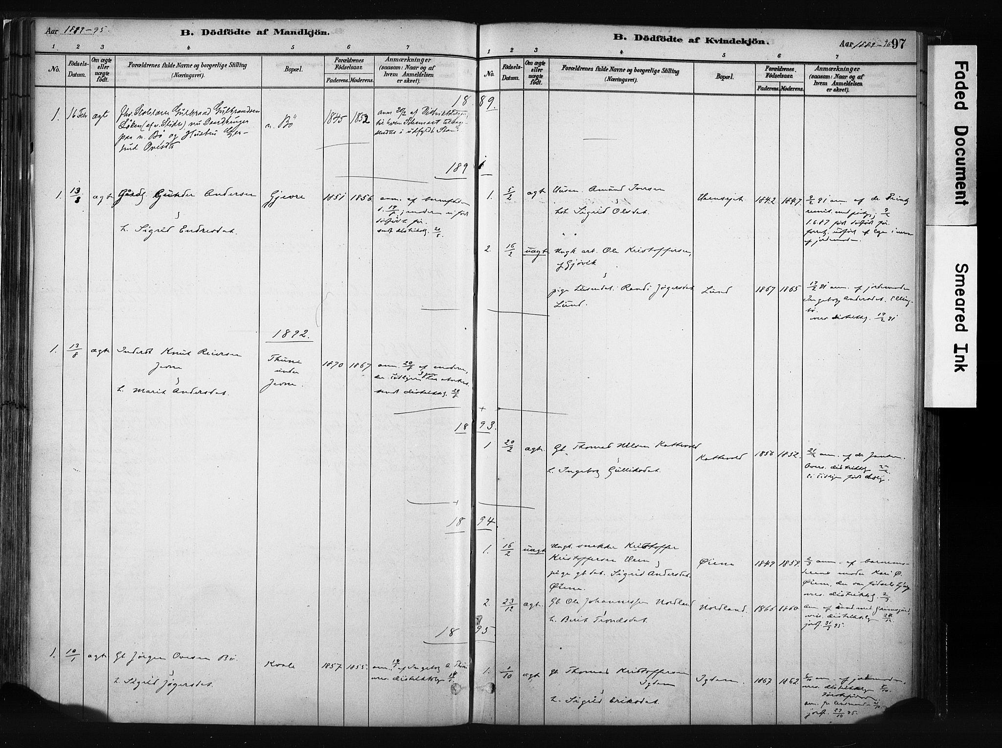 SAH, Vang prestekontor, Valdres, Ministerialbok nr. 8, 1882-1910, s. 97