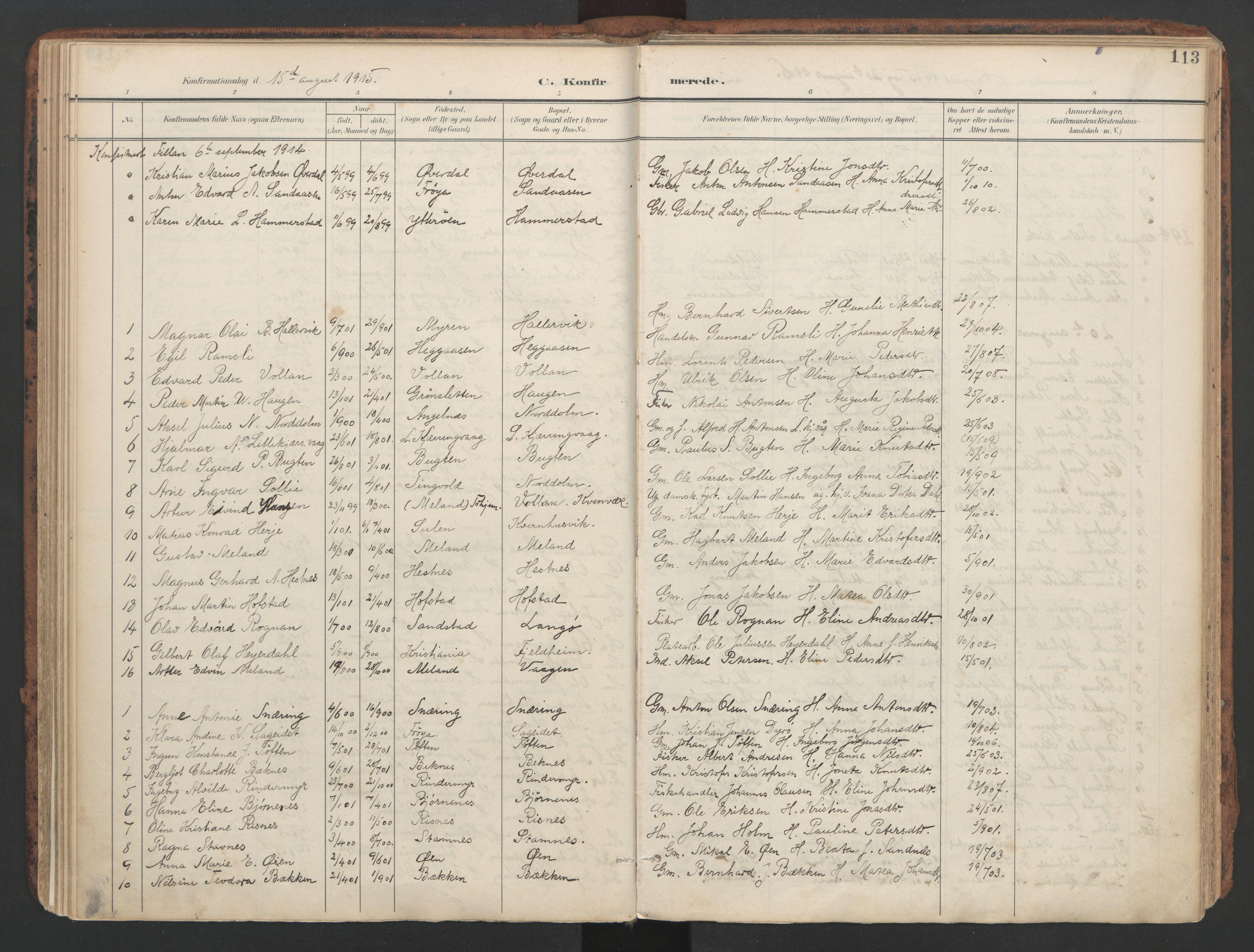 SAT, Ministerialprotokoller, klokkerbøker og fødselsregistre - Sør-Trøndelag, 634/L0537: Ministerialbok nr. 634A13, 1896-1922, s. 113